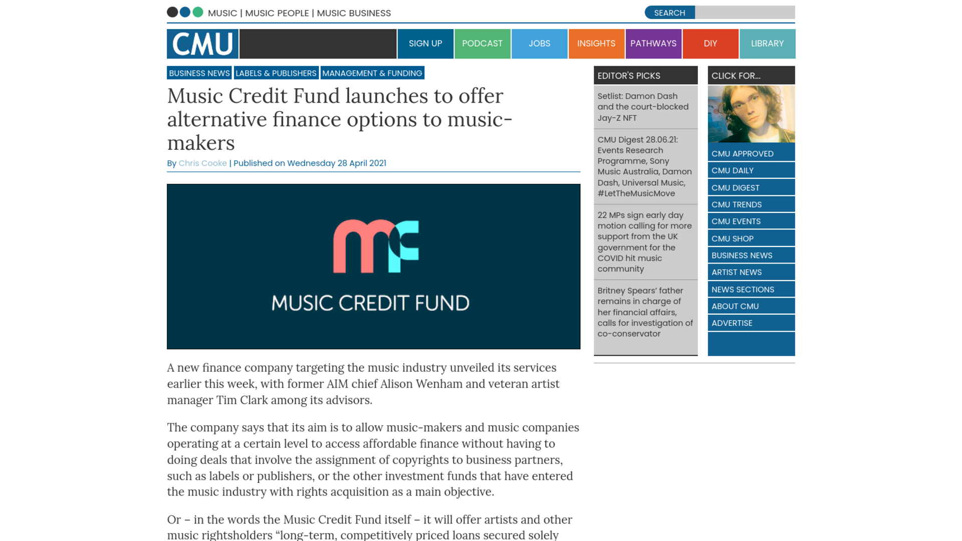 Fairness Rocks News Music Credit Fund launches to offer alternative finance options to music-makers