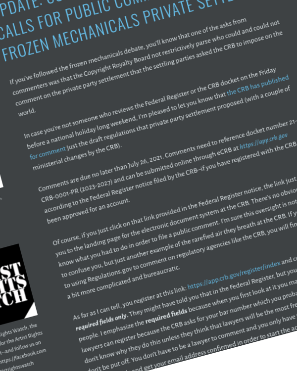 Fairness Rocks News Update: Copyright Royalty Board Calls for Public Comments on the Frozen Mechanicals Private Settlement