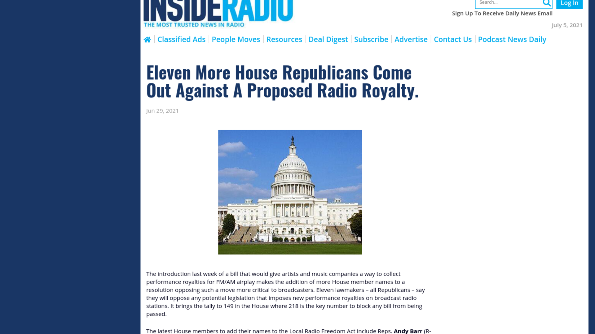 Fairness Rocks News Eleven More House Republicans Come Out Against A Proposed Radio Royalty.