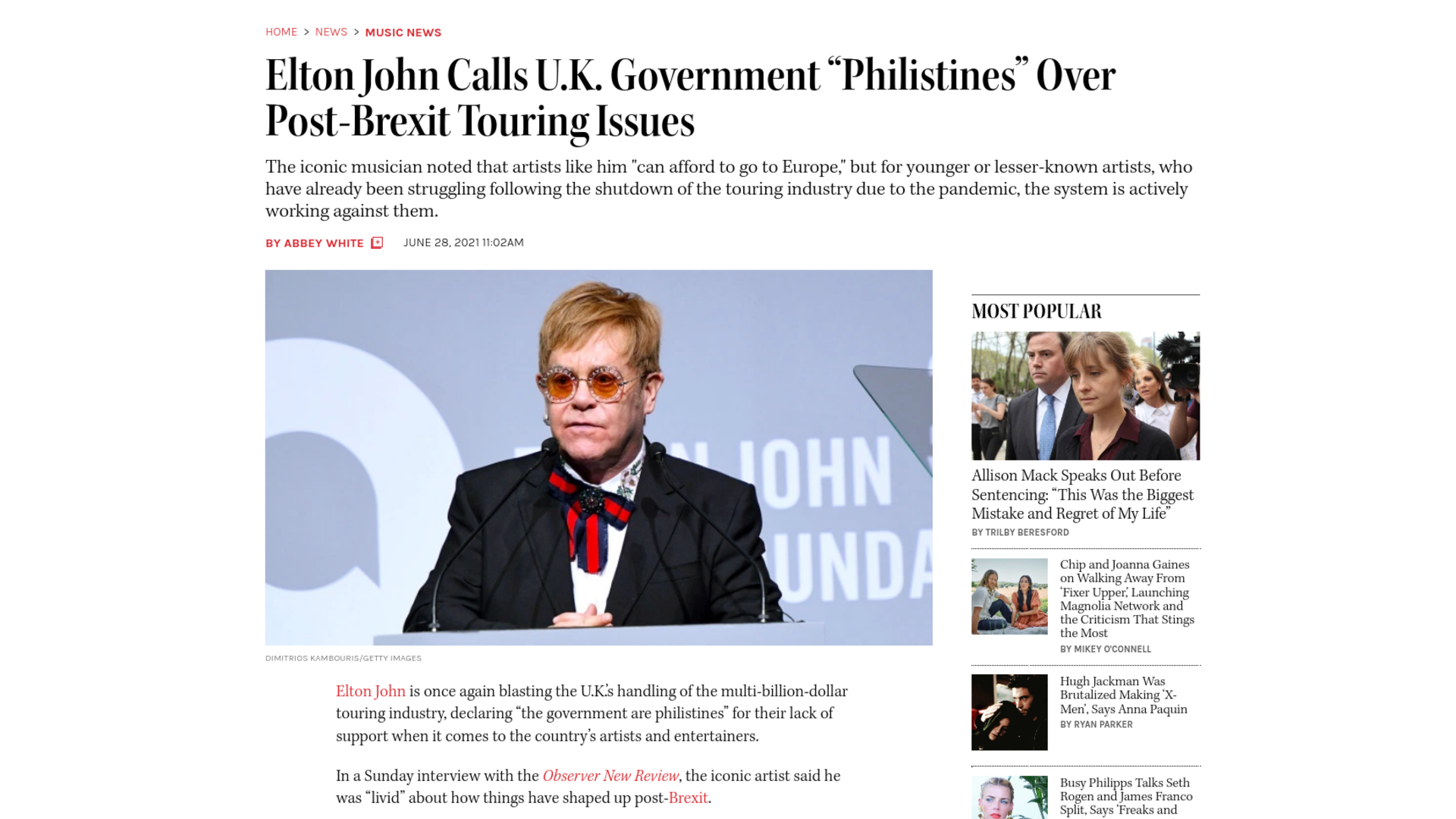 "Fairness Rocks News Elton John Calls U.K. Government ""Philistines"" Over Post-Brexit Touring Issues"