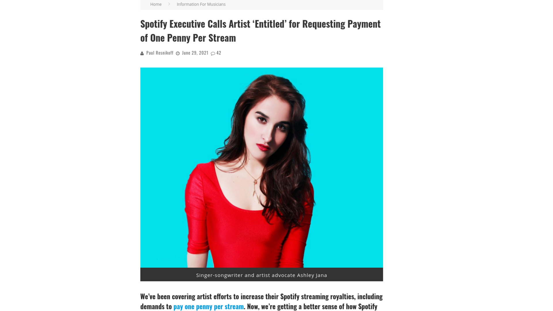Fairness Rocks News Spotify Executive Calls Artist 'Entitled' for Requesting Payment of One Penny Per Stream