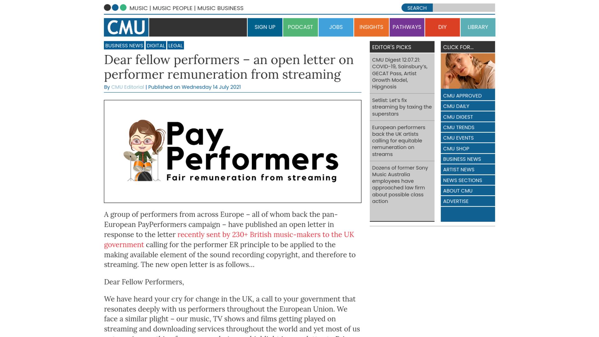 Fairness Rocks News Dear fellow performers – an open letter on performer remuneration from streaming