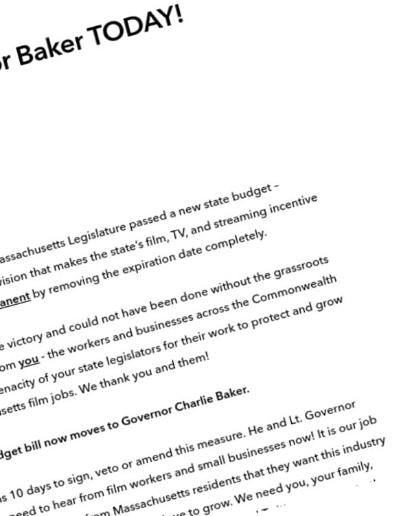 Fairness Rocks News Contact Governor Baker TODAY!
