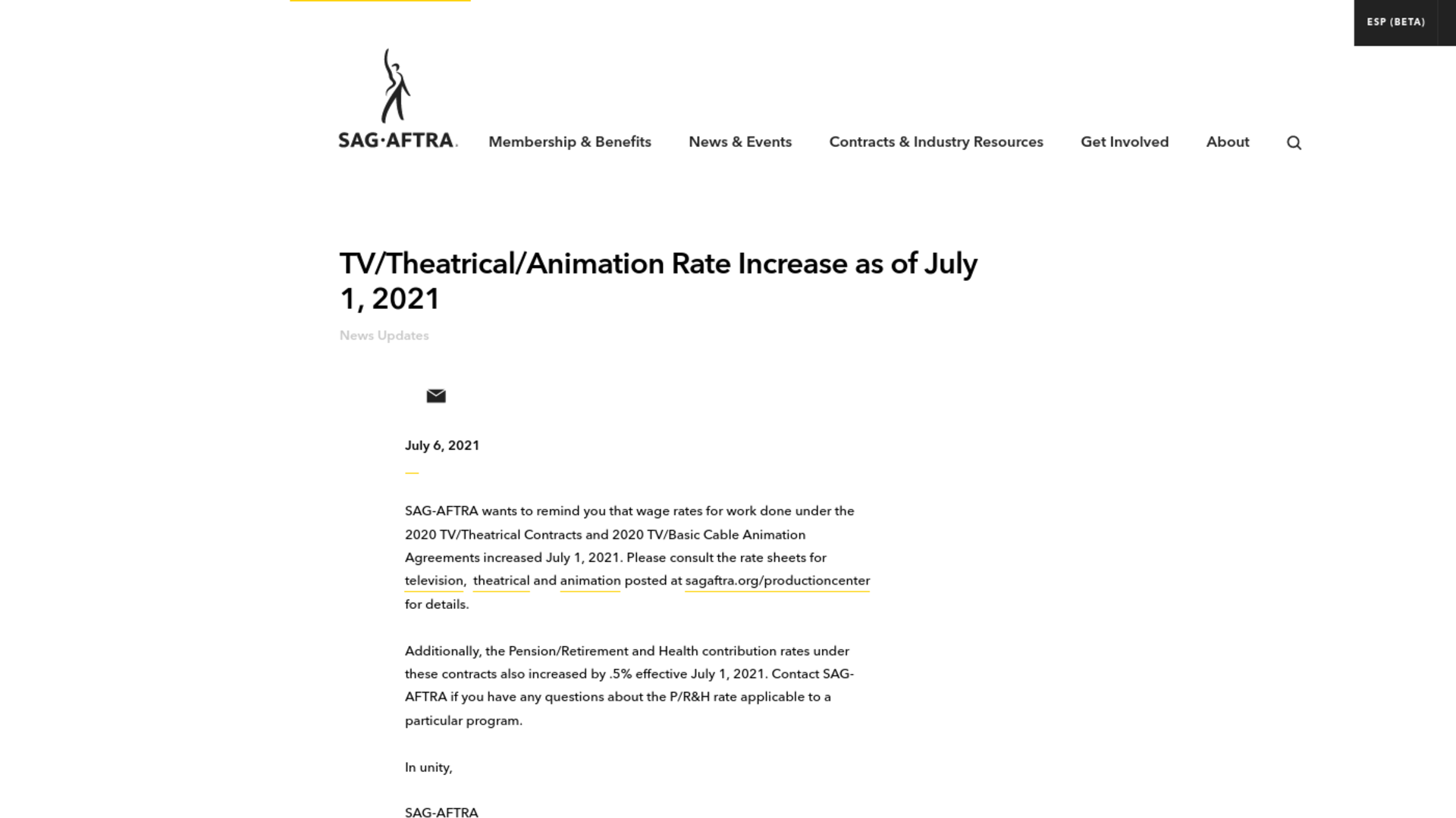 Fairness Rocks News TV/Theatrical/Animation Rate Increase as of July 1, 2021