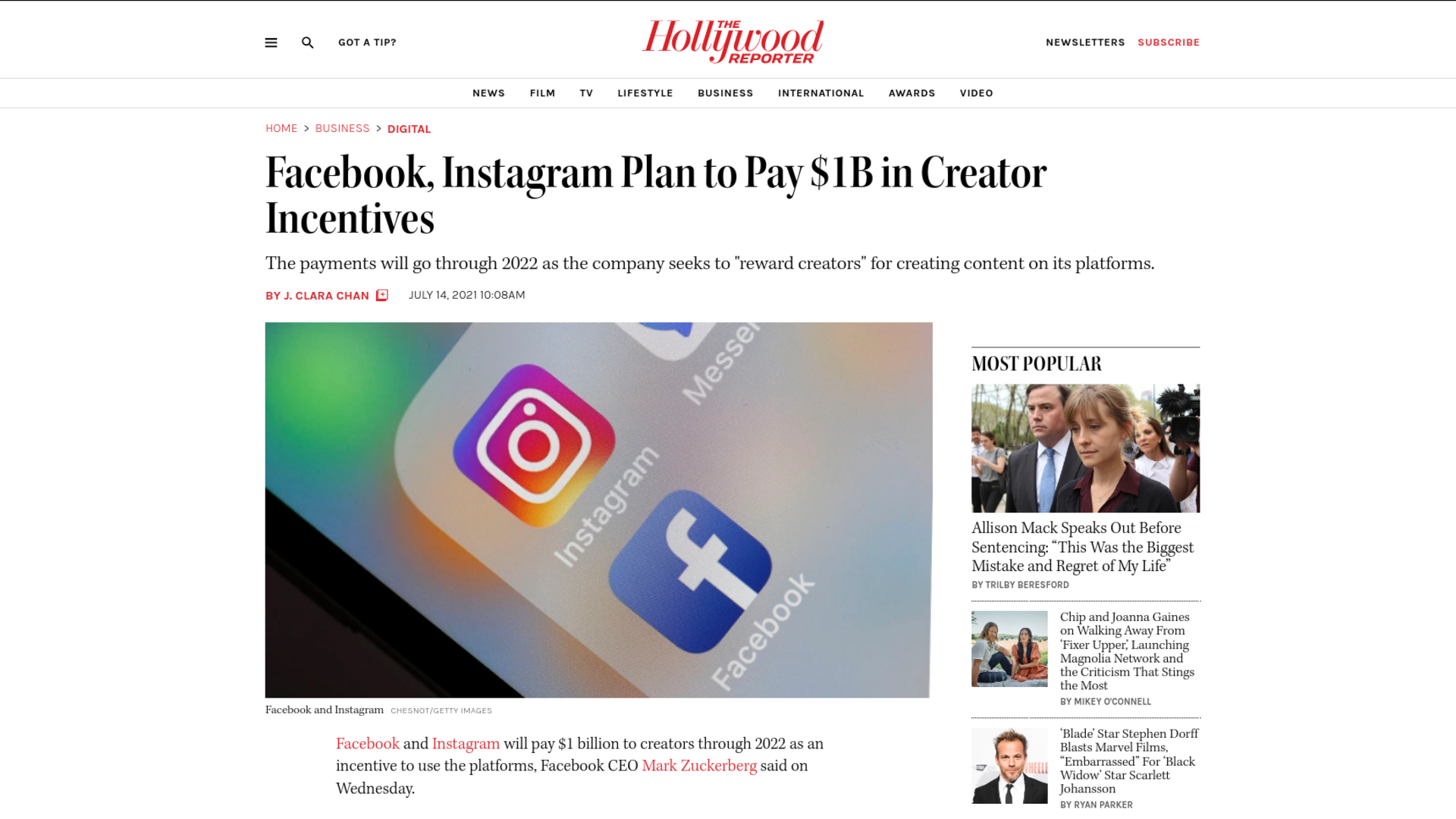 Fairness Rocks News Facebook, Instagram Plan to Pay $1B in Creator Incentives