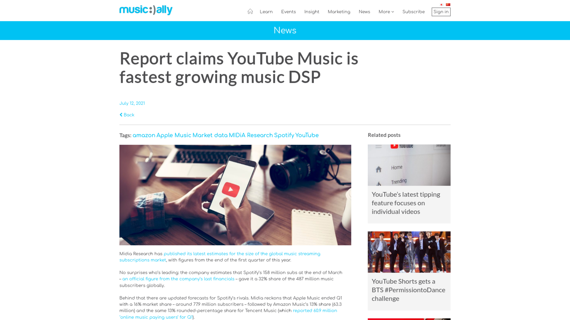 Fairness Rocks News Report claims YouTube Music is fastest growing music DSP