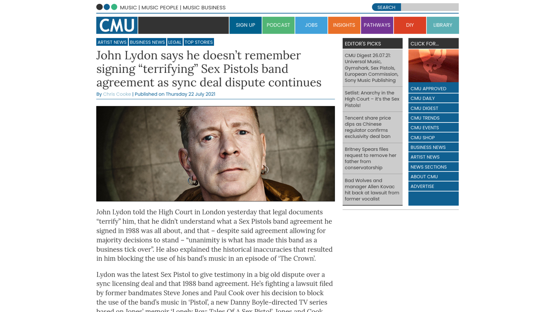 """Fairness Rocks News John Lydon says he doesn't remember signing """"terrifying"""" Sex Pistols band agreement as sync deal dispute continues"""