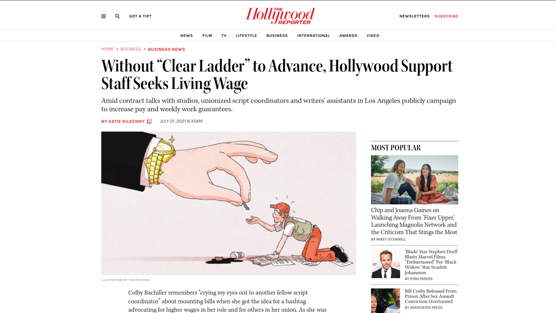 """Fairness Rocks News Without """"Clear Ladder"""" to Advance, Hollywood Support Staff Seeks Living Wage"""