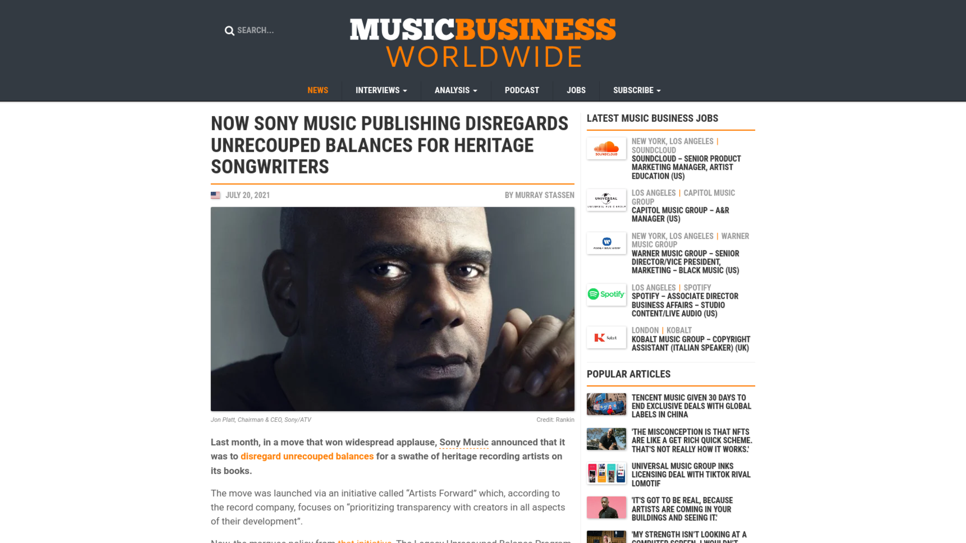Fairness Rocks News Now Sony Music Publishing disregards unrecouped balances for heritage songwriters