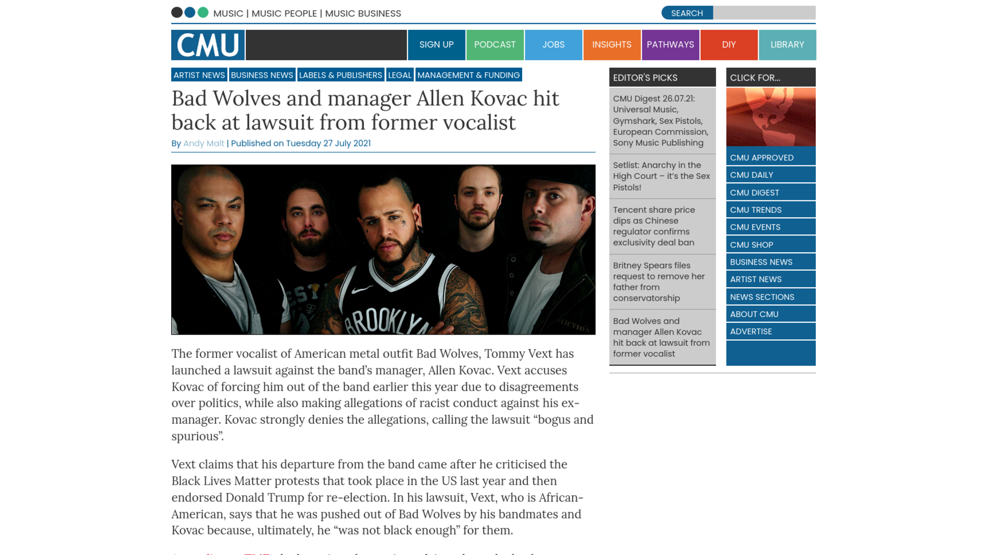 Fairness Rocks News Bad Wolves and manager Allen Kovac hit back at lawsuit from former vocalist