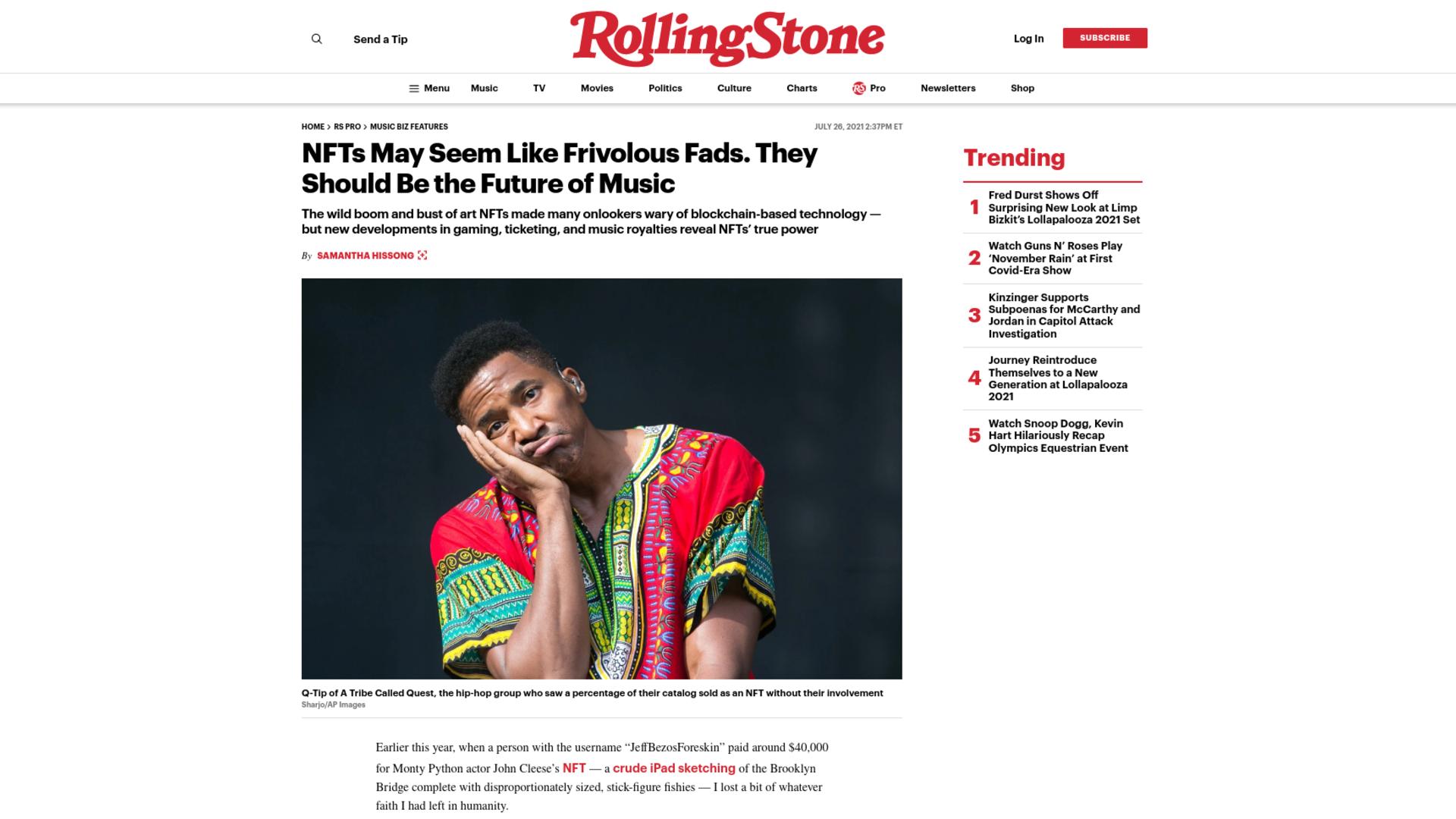 Fairness Rocks News NFTs May Seem Like Frivolous Fads. They Should Be the Future of Music