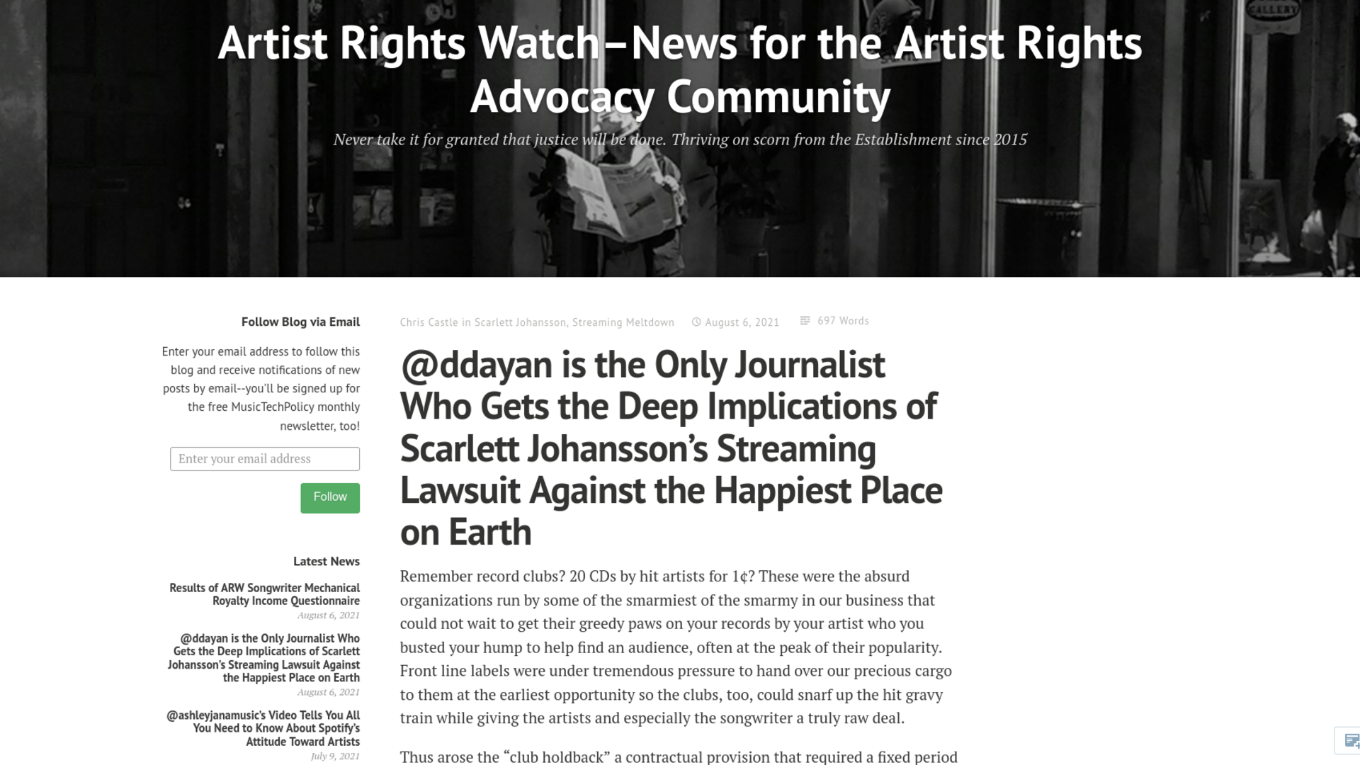 Fairness Rocks News @ddayan is the Only Journalist Who Gets the Deep Implications of Scarlett Johansson's Streaming Lawsuit Against the Happiest Place on Earth