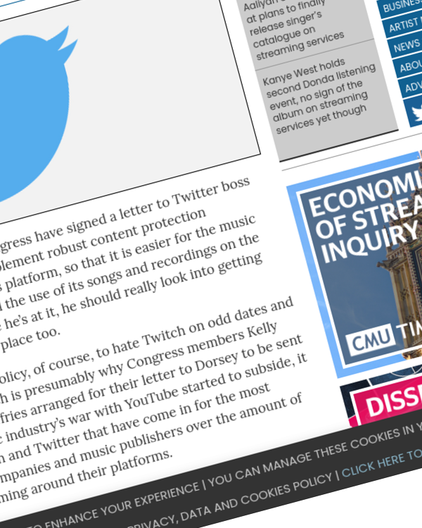 Fairness Rocks News Congress members hit out at Twitter over rights management systems and lack of music licences