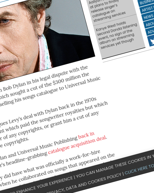 Fairness Rocks News Bob Dylan wins in legal battle with former collaborator's estate over his $300 million catalogue sale