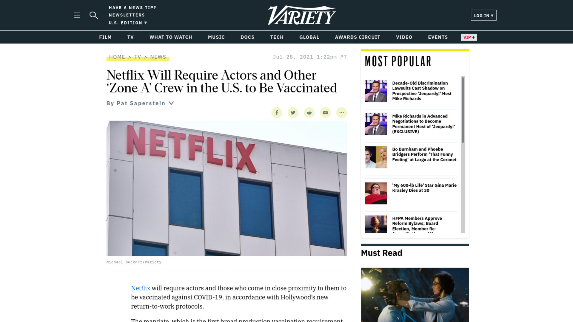 Fairness Rocks News Netflix Will Require Actors and Other 'Zone A' Crew in the U.S. to Be Vaccinated