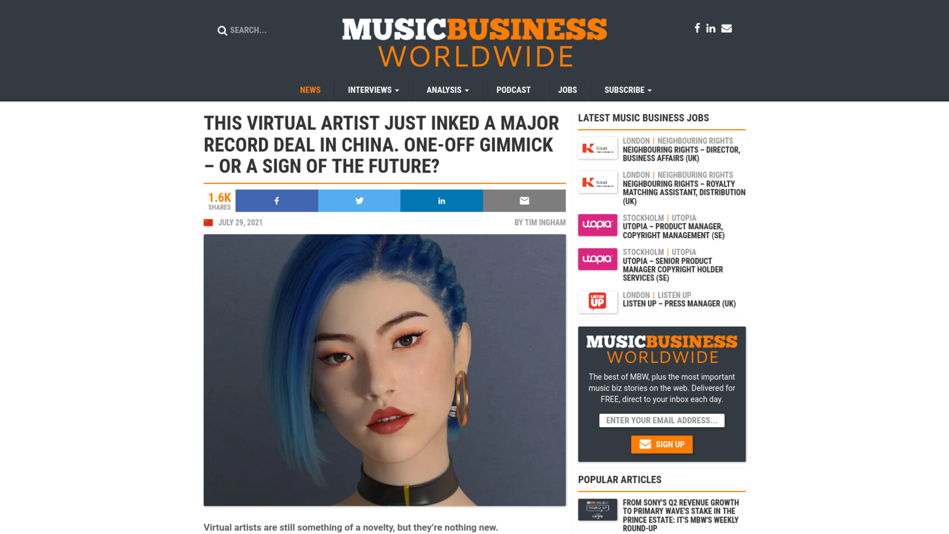Fairness Rocks News This virtual artist just inked a major record deal in China. One-off gimmick – or a sign of the future?