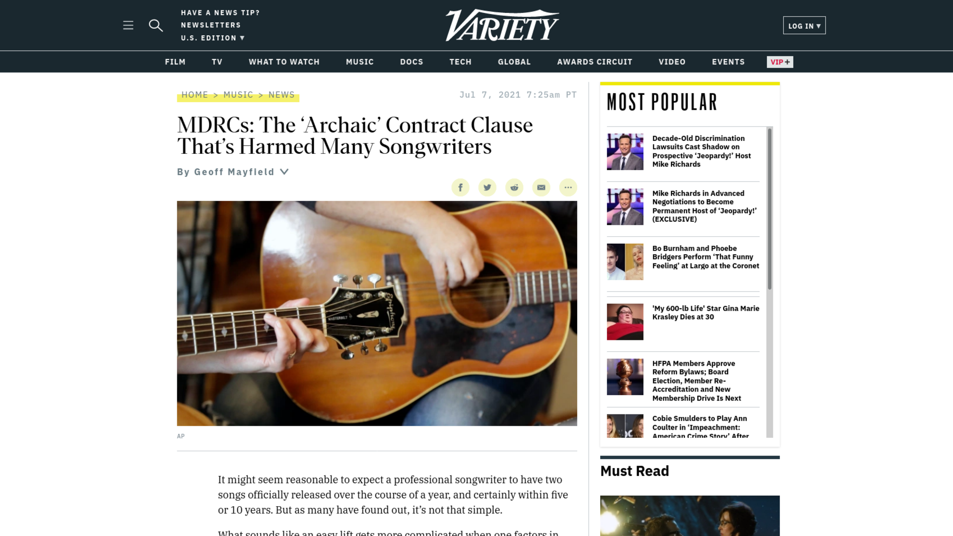 Fairness Rocks News MDRCs: The 'Archaic' Contract Clause That's Harmed Many Songwriters