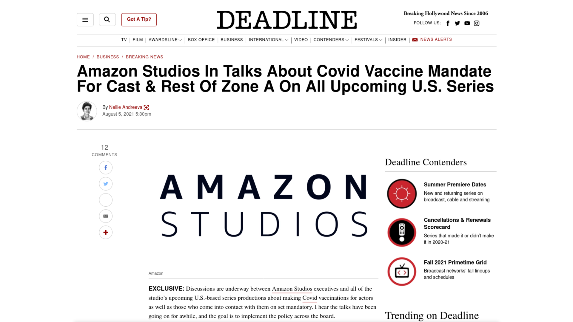Fairness Rocks News Amazon Studios In Talks About Covid Vaccine Mandate For Cast & Rest Of Zone A On All Upcoming U.S. Series