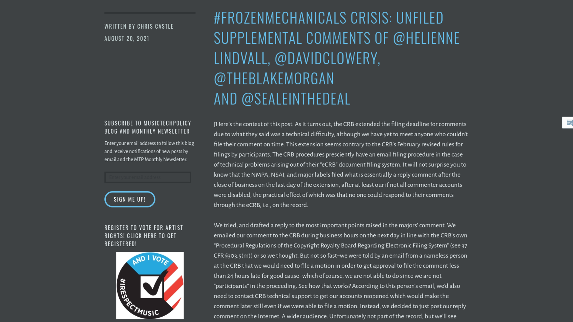 Fairness Rocks News #FrozenMechanicals Crisis: Unfiled Supplemental Comments of @helienne Lindvall, @davidclowery, @theblakemorgan and @sealeinthedeal