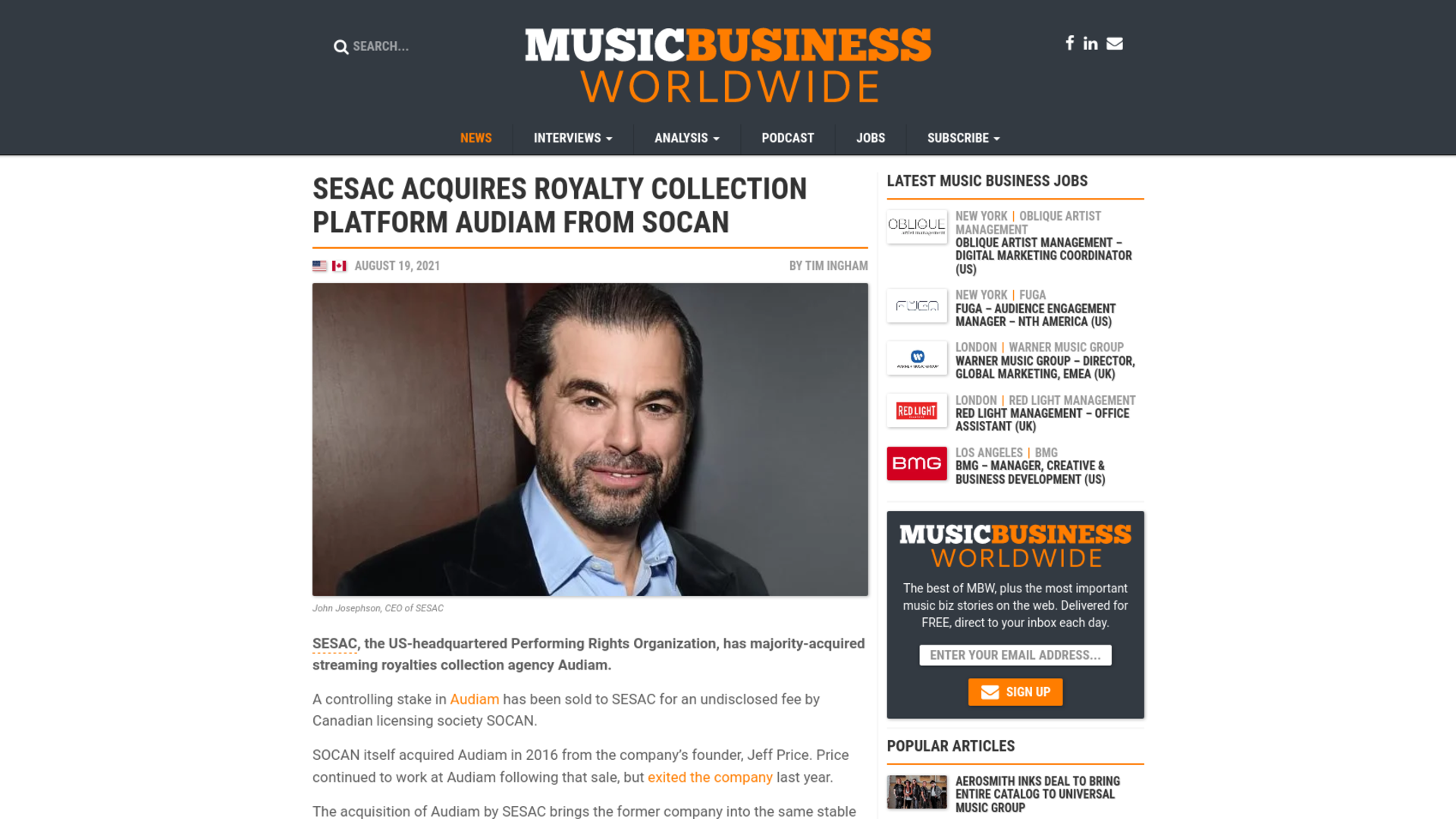 Fairness Rocks News SESAC acquires royalty collection platform Audiam from SOCAN