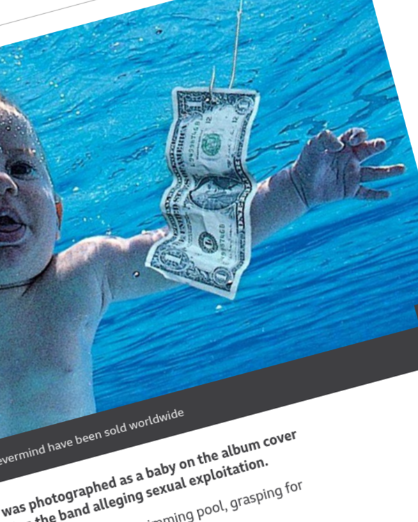 Fairness Rocks News Nirvana sued by the baby from Nevermind's album cover
