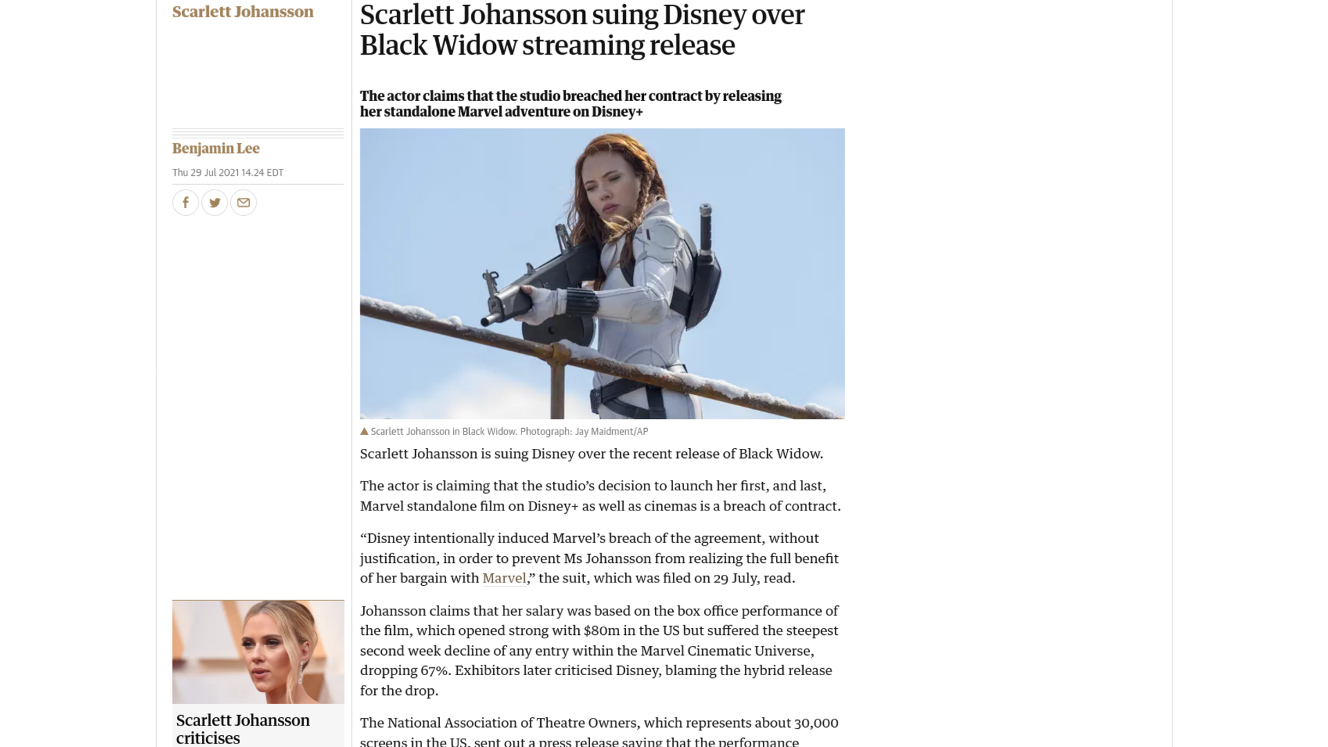 Fairness Rocks News Scarlett Johansson suing Disney over Black Widow streaming release