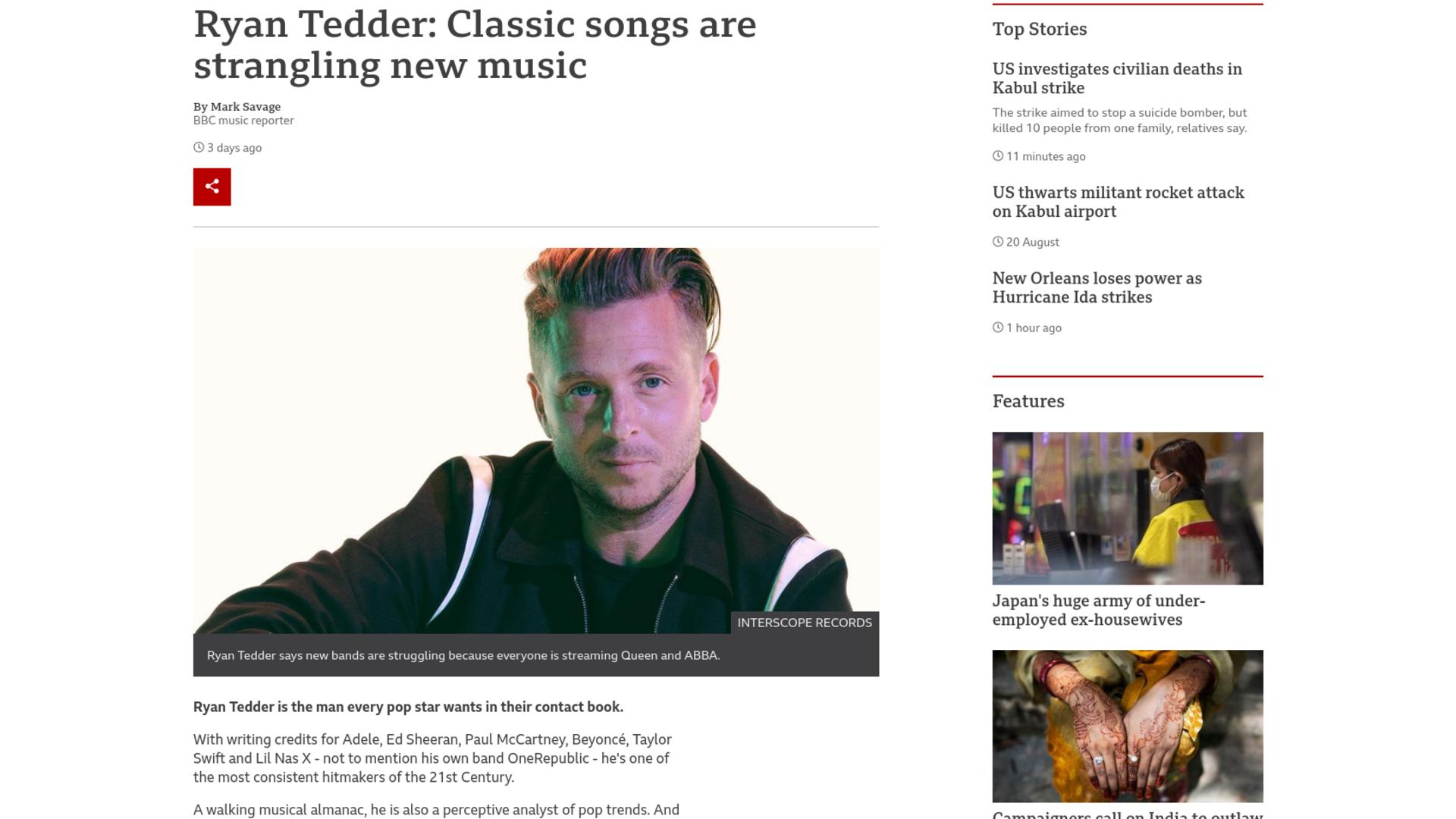 Fairness Rocks News Ryan Tedder: Classic songs are strangling new music