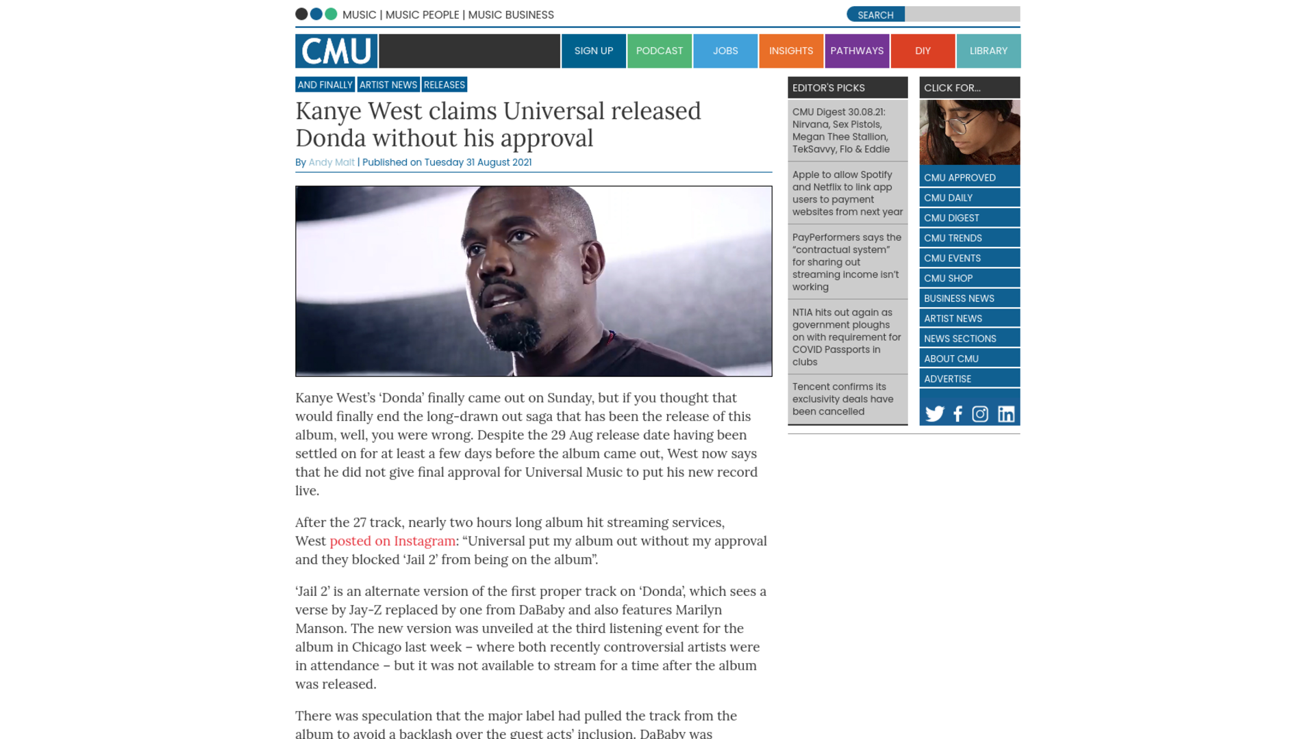 Fairness Rocks News Kanye West claims Universal released Donda without his approval