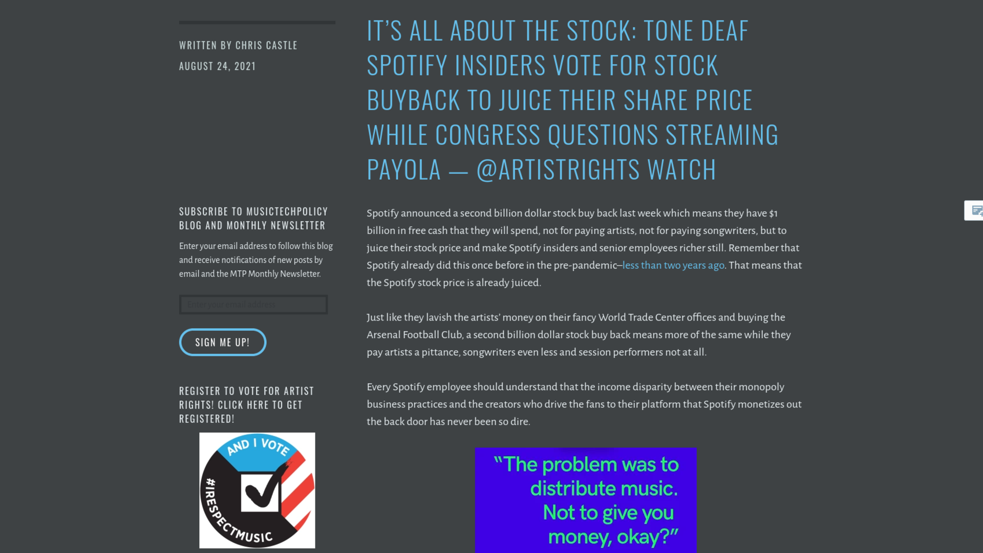 Fairness Rocks News It's All About the Stock: Tone deaf Spotify Insiders Vote for Stock Buyback to Juice Their Share Price While Congress Questions Streaming Payola — @ArtistRights Watch