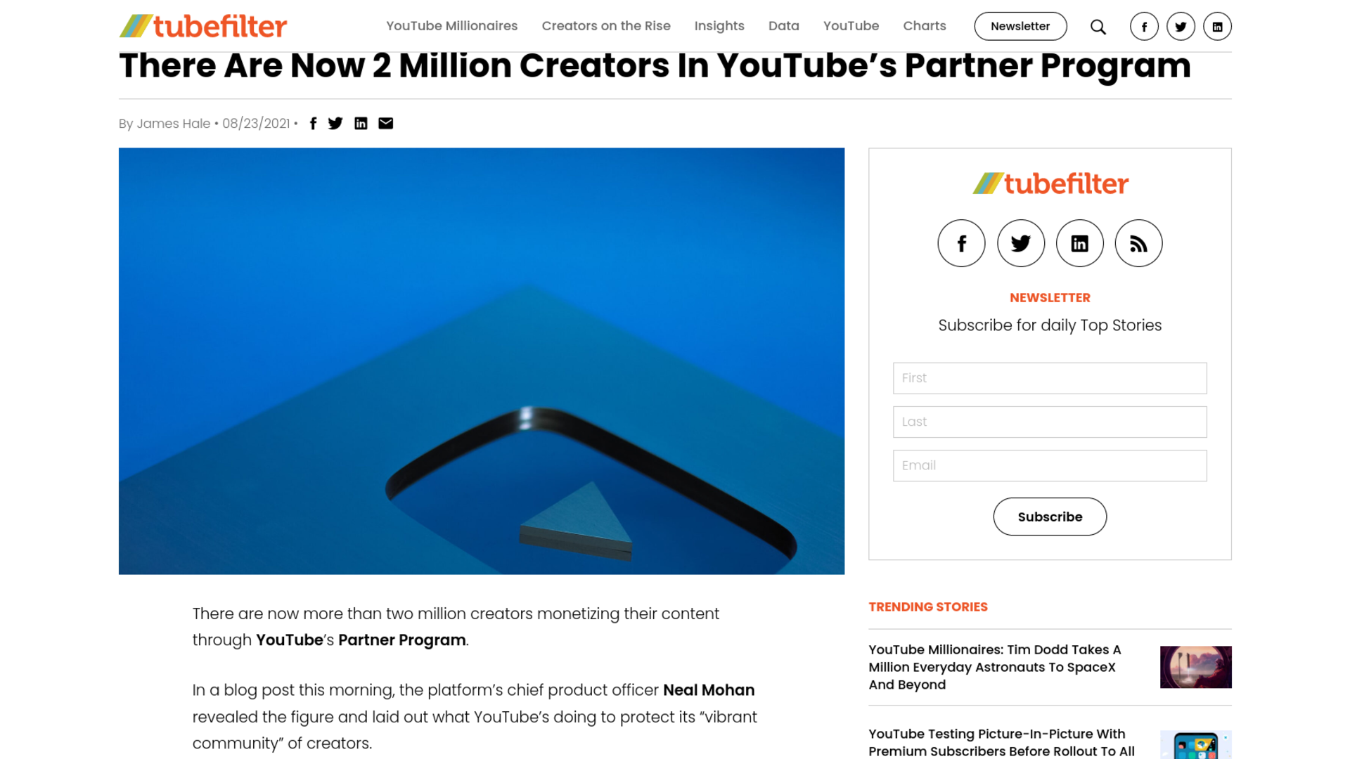 Fairness Rocks News There Are Now 2 Million Creators In YouTube's Partner Program