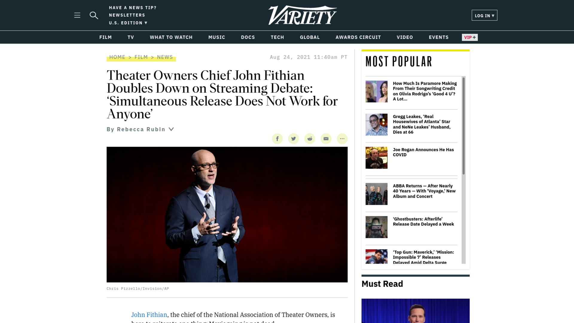 Fairness Rocks News Theater Owners Chief John Fithian Doubles Down on Streaming Debate: 'Simultaneous Release Does Not Work for Anyone'