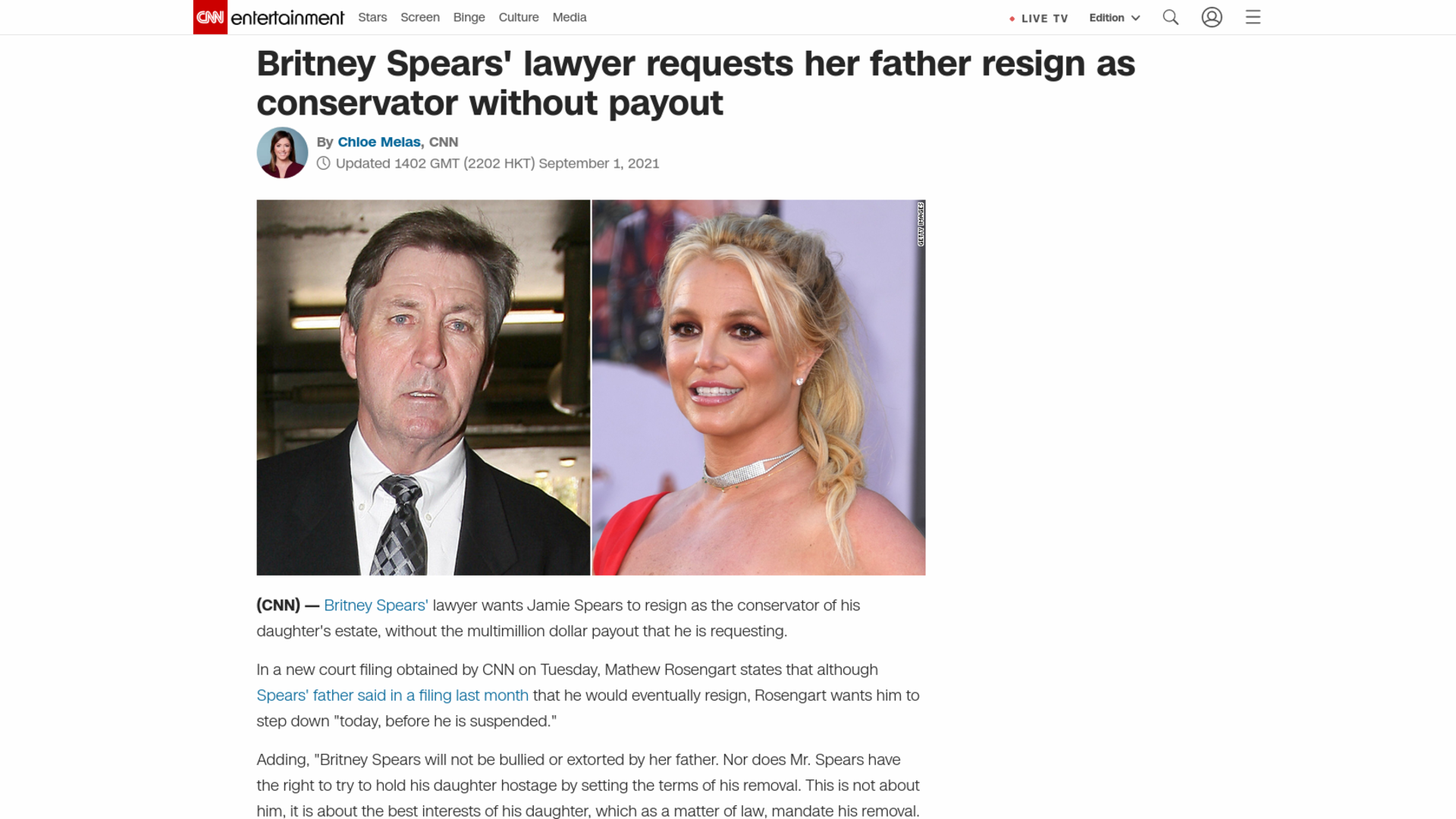 Fairness Rocks News Britney Spears' lawyer requests her father resign as conservator without payout