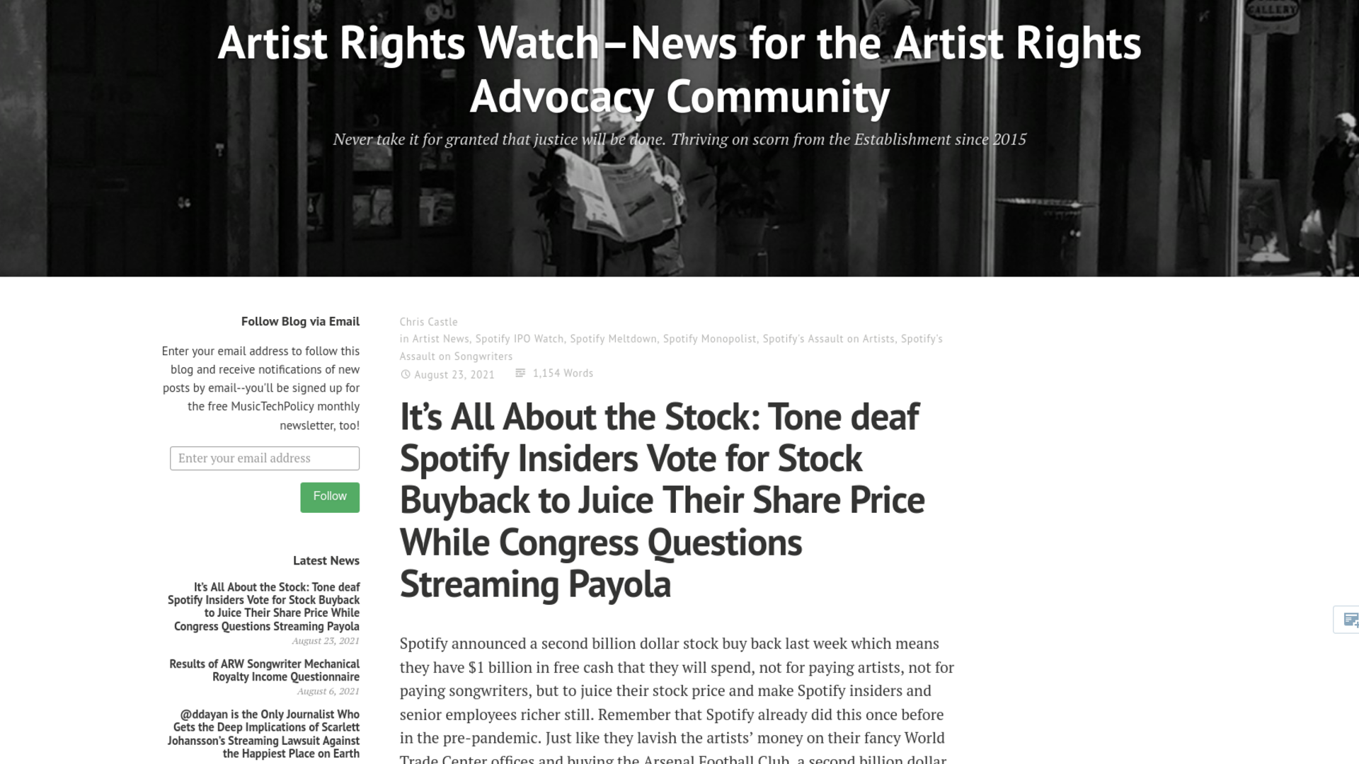 Fairness Rocks News It's All About the Stock: Tone deaf Spotify Insiders Vote for Stock Buyback to Juice Their Share Price While Congress Questions Streaming Payola