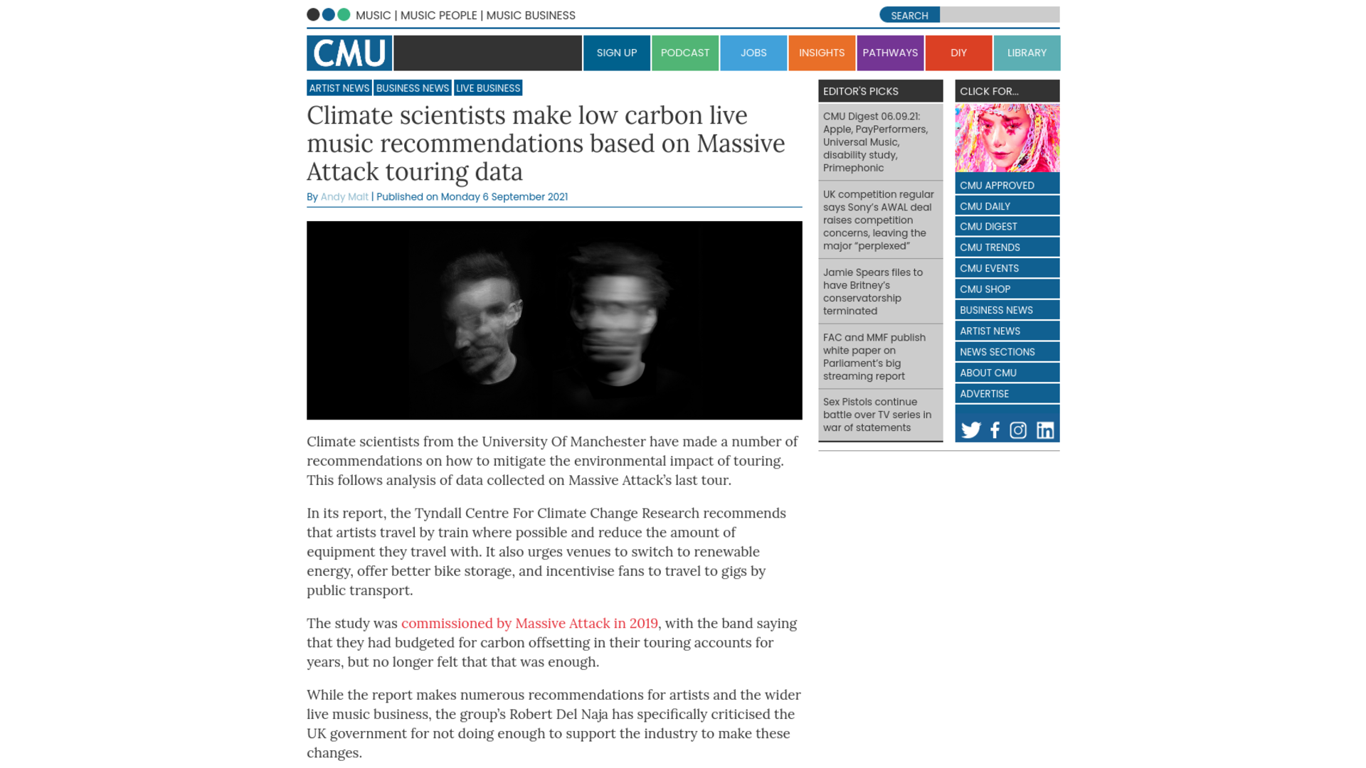 Fairness Rocks News Climate scientists make low carbon live music recommendations based on Massive Attack touring data