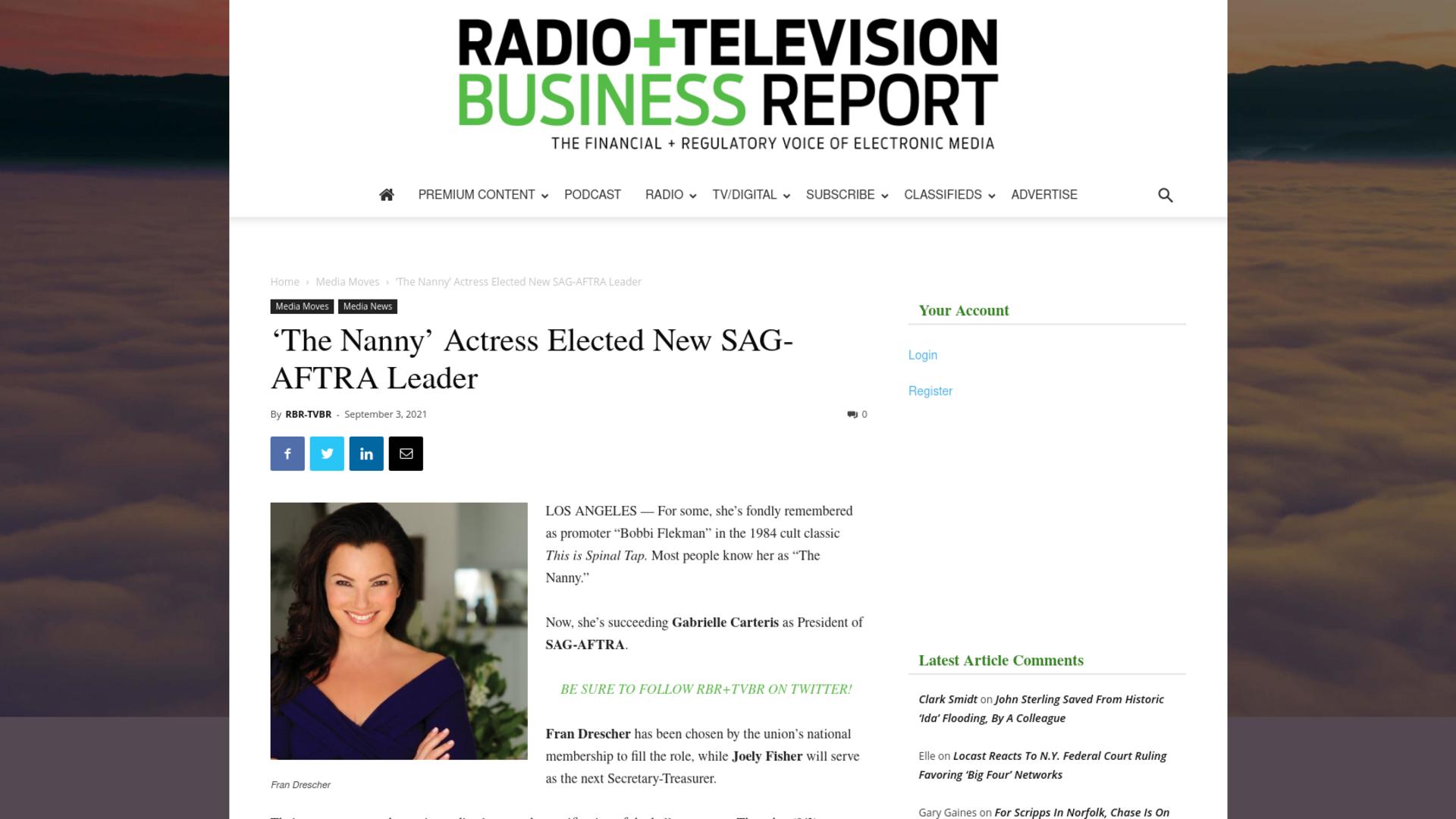 Fairness Rocks News 'The Nanny' Actress Elected New SAG-AFTRA Leader