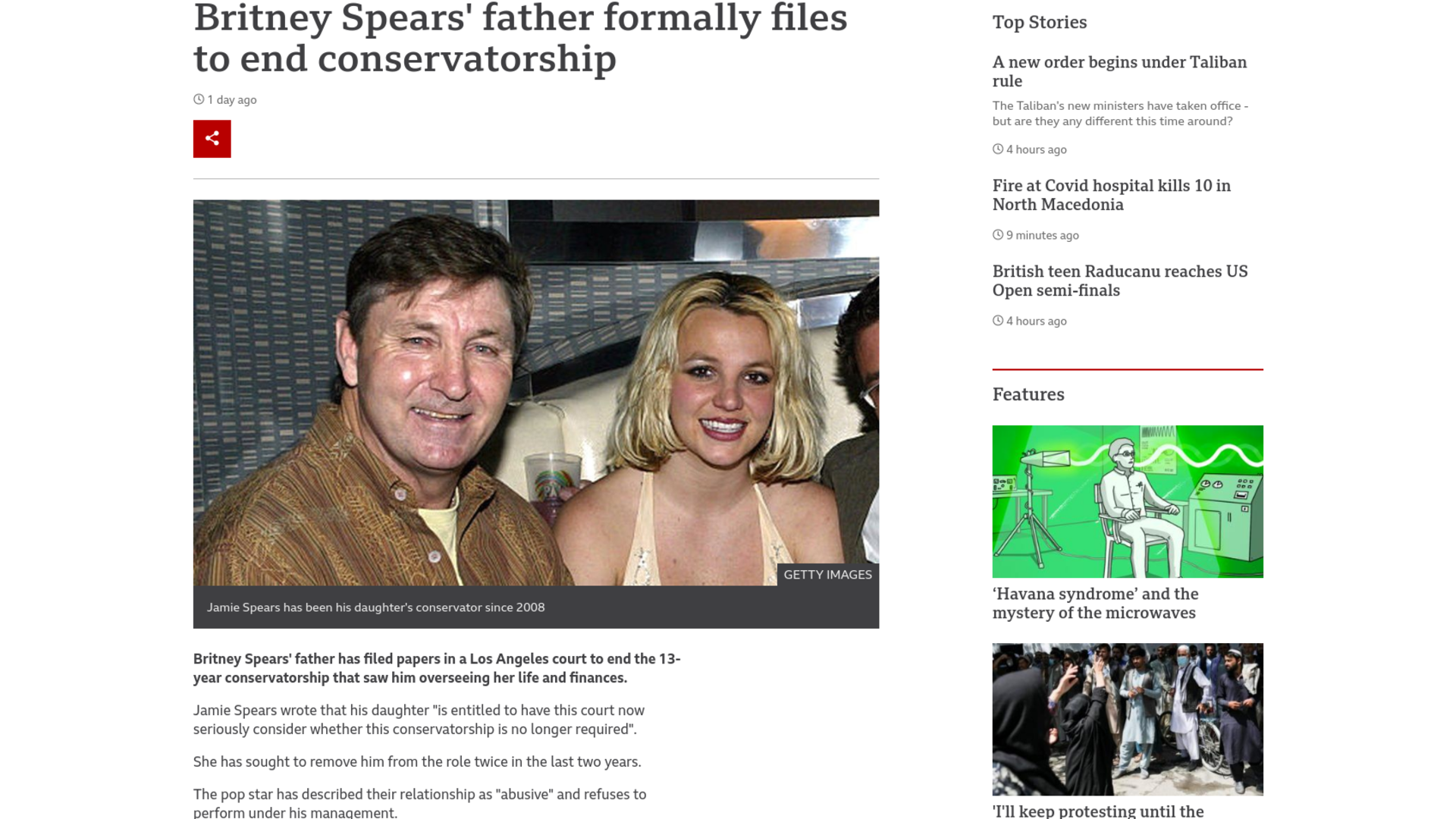 Fairness Rocks News Britney Spears' father formally files to end conservatorship
