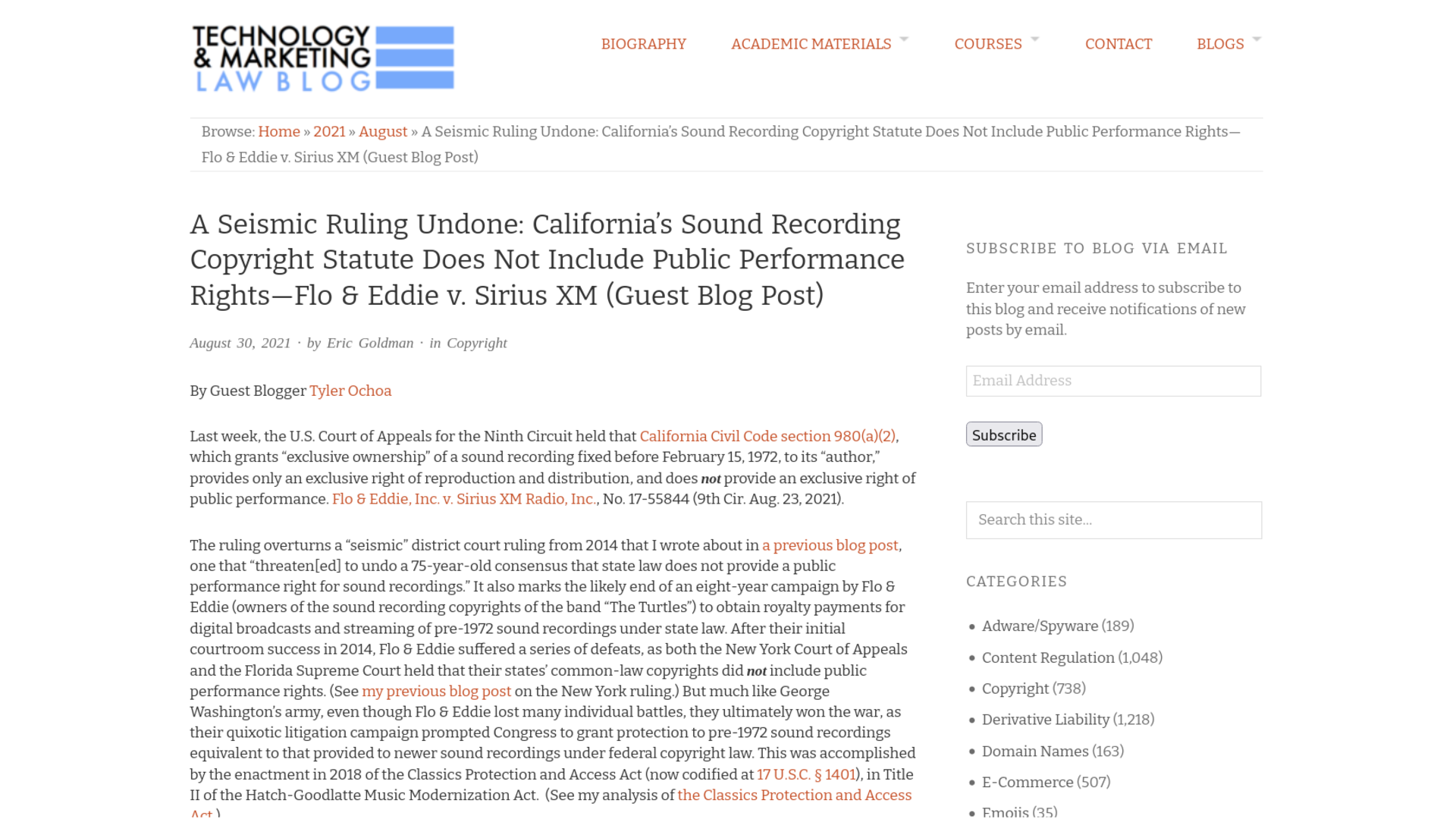 Fairness Rocks News A Seismic Ruling Undone: California's Sound Recording Copyright Statute Does Not Include Public Performance Rights—Flo & Eddie v. Sirius XM (Guest Blog Post)