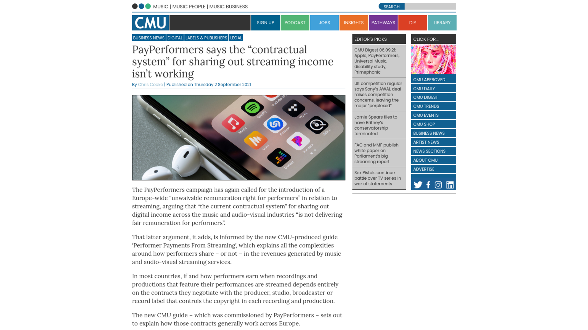 """Fairness Rocks News PayPerformers says the """"contractual system"""" for sharing out streaming income isn't working"""