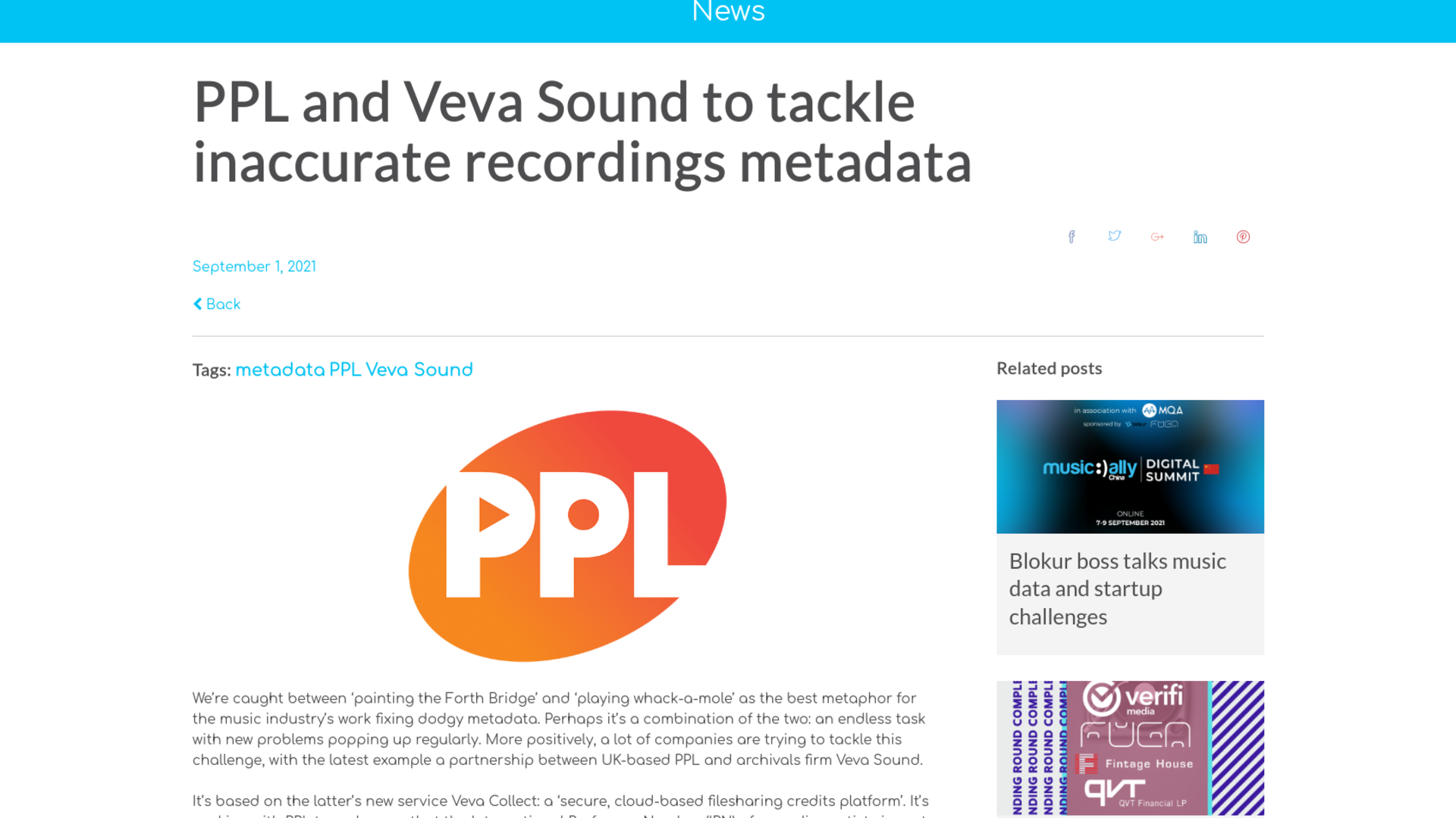 Fairness Rocks News PPL and Veva Sound to tackle inaccurate recordings metadata
