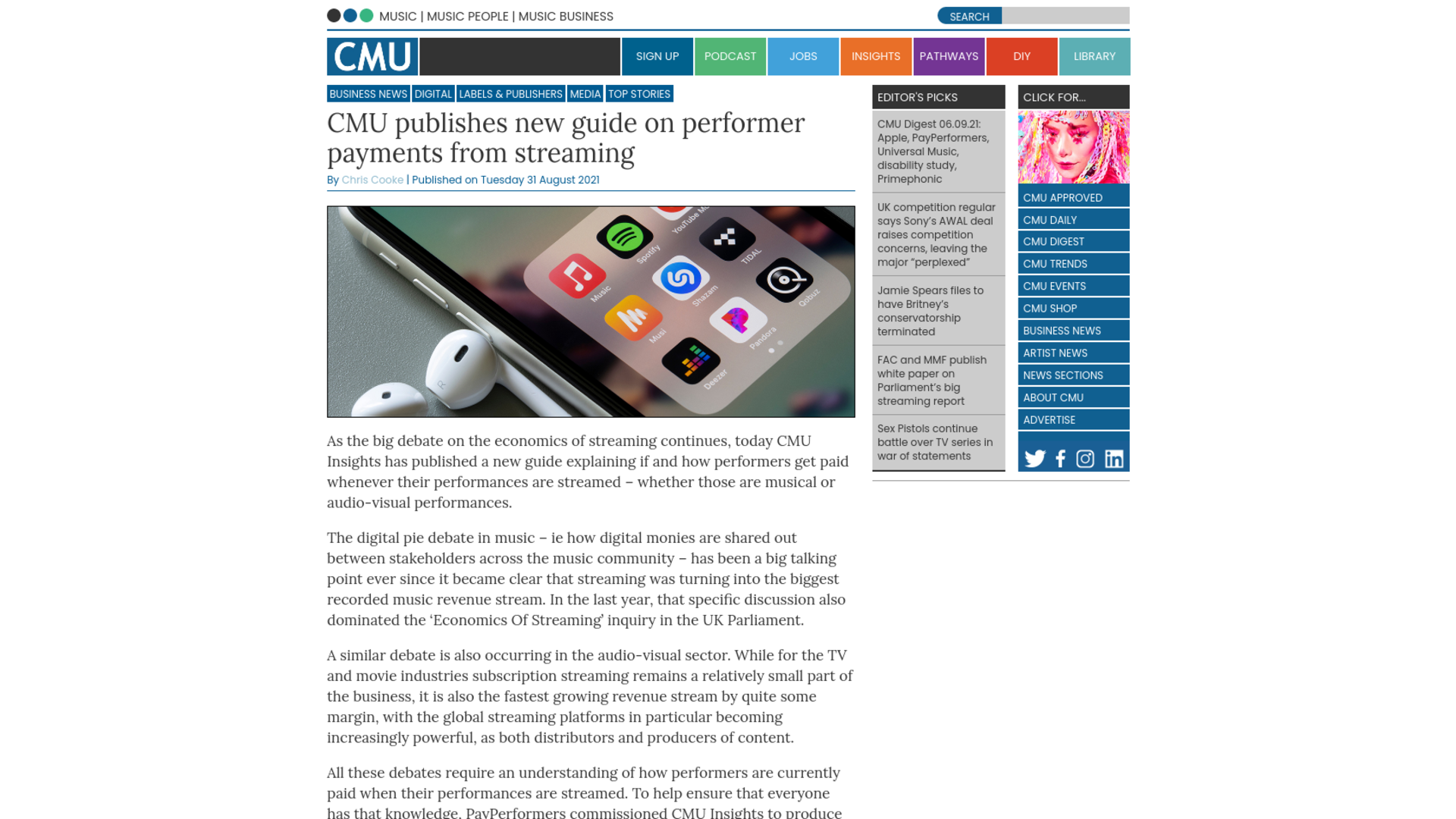 Fairness Rocks News CMU publishes new guide on performer payments from streaming