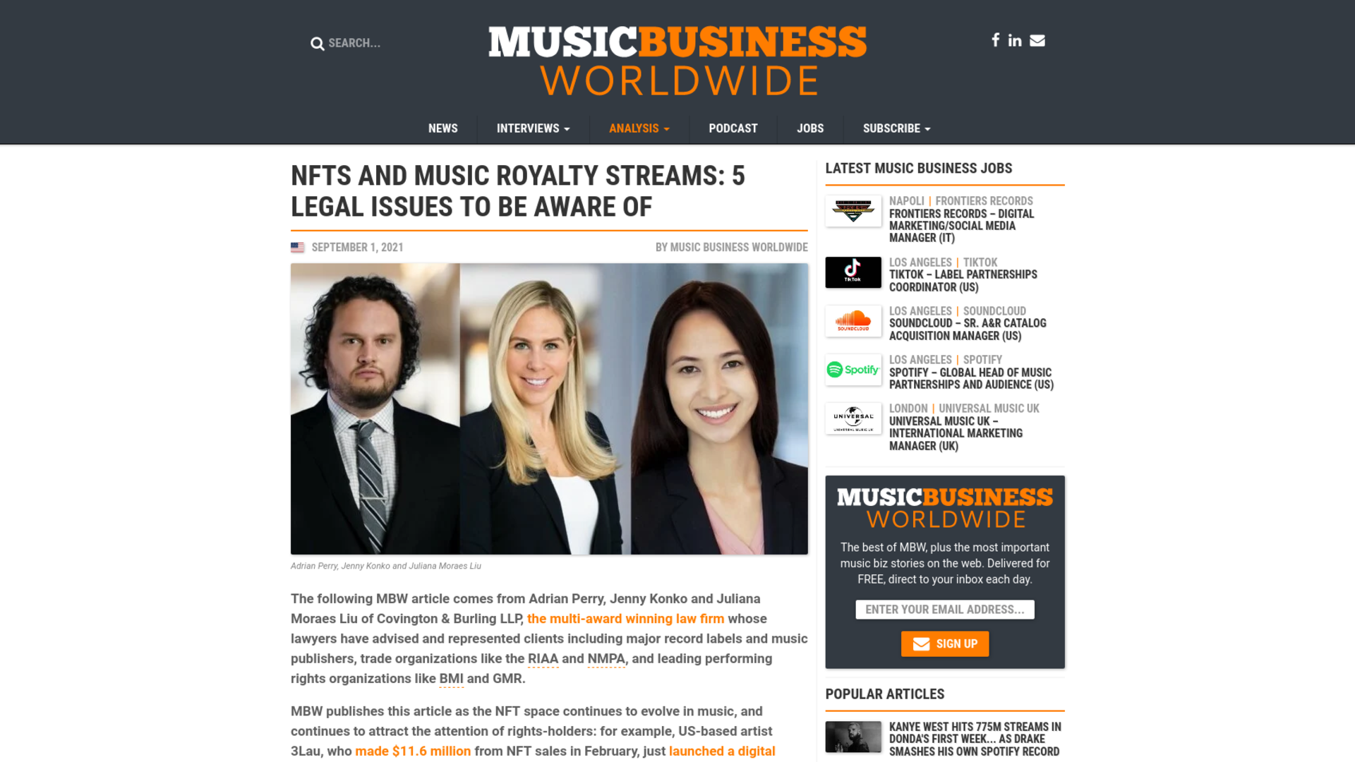 Fairness Rocks News NFTs and Music Royalty Streams: 5 Legal Issues To Be Aware Of