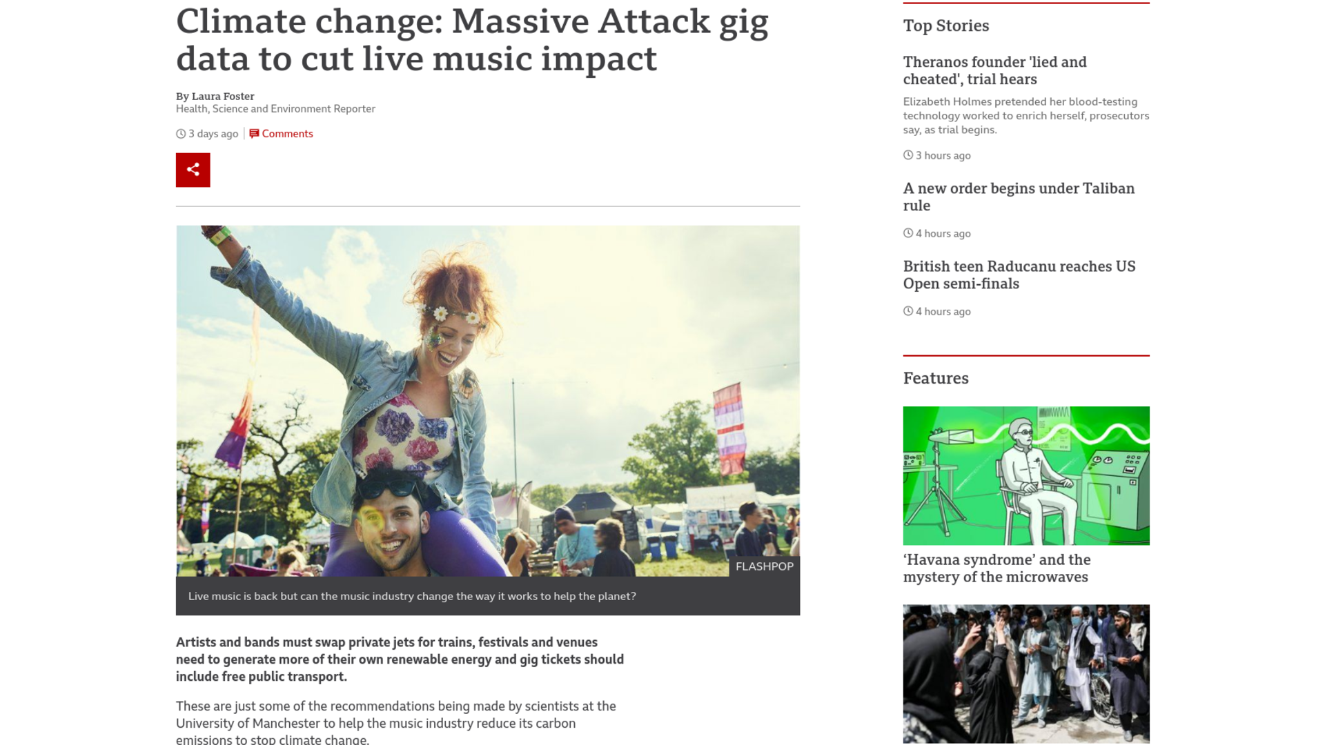 Fairness Rocks News Climate change: Massive Attack gig data to cut live music impact