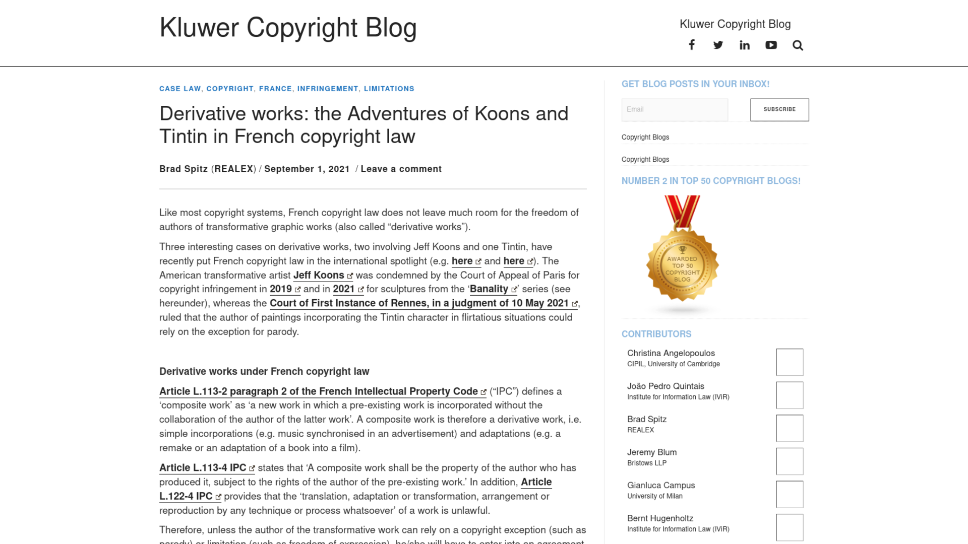 Fairness Rocks News Derivative works: the Adventures of Koons and Tintin in French copyright law