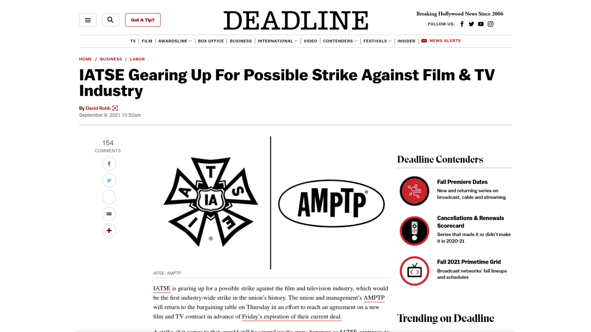 Fairness Rocks News IATSE Gearing Up For Possible Strike Against Film & TV Industry