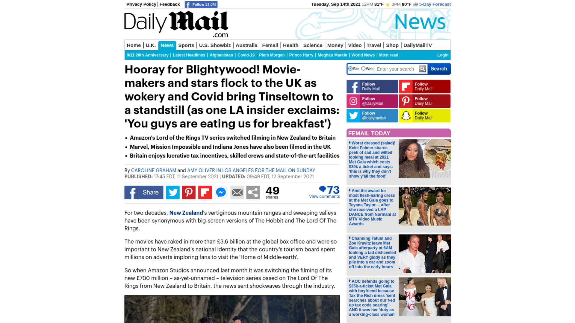 Fairness Rocks News Hooray for Blightywood! Movie-makers and stars flock to the UK as wokery and Covid bring Tinseltown to a standstill (as one LA insider exclaims: 'You guys are eating us for breakfast')