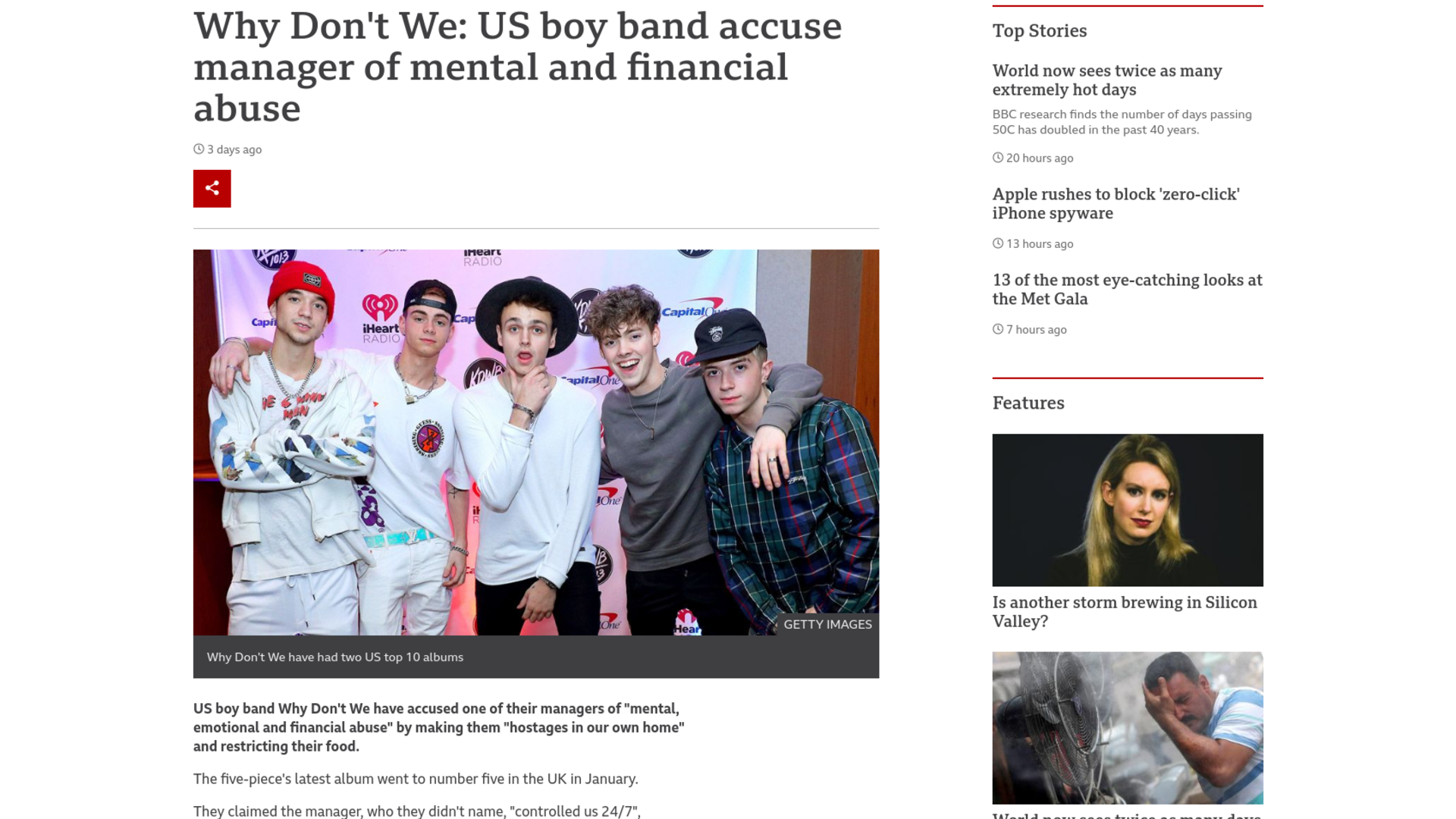 Fairness Rocks News Why Don't We: US boy band accuse manager of mental and financial abuse