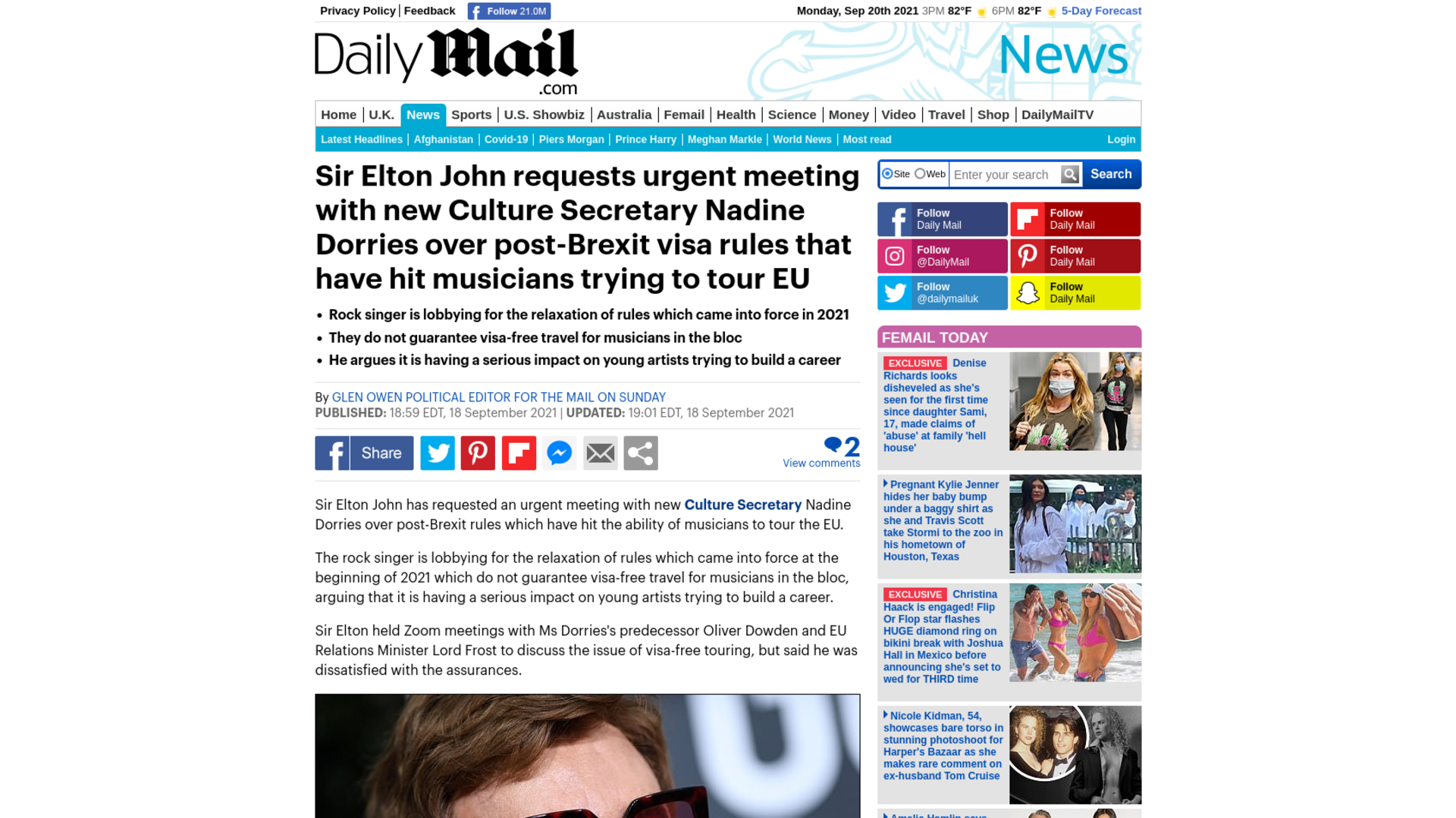 Fairness Rocks News Sir Elton John requests urgent meeting with new Culture Secretary Nadine Dorries over post-Brexit visa rules that have hit musicians trying to tour EU