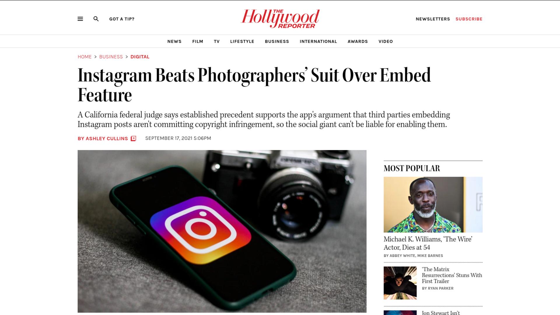 Fairness Rocks News Instagram Beats Photographers' Suit Over Embed Feature