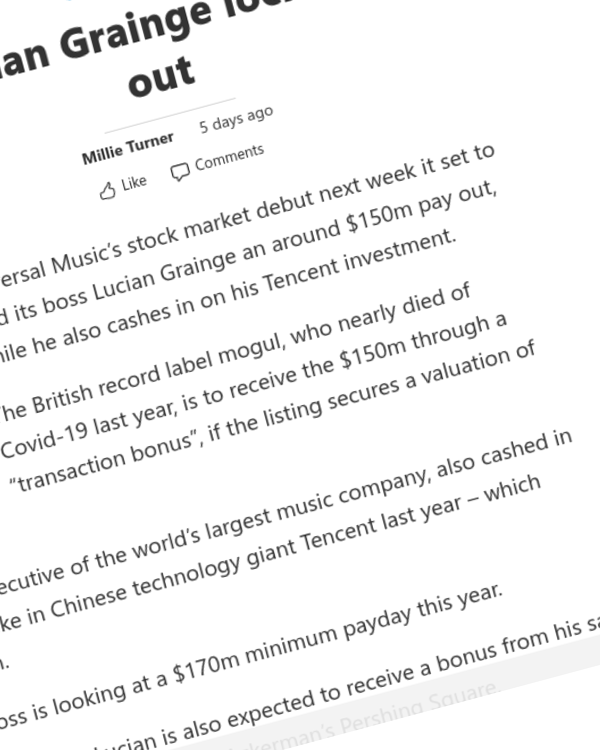 Fairness Rocks News Universal Music boss Lucian Grainge locks eyes on $150m IPO pay out