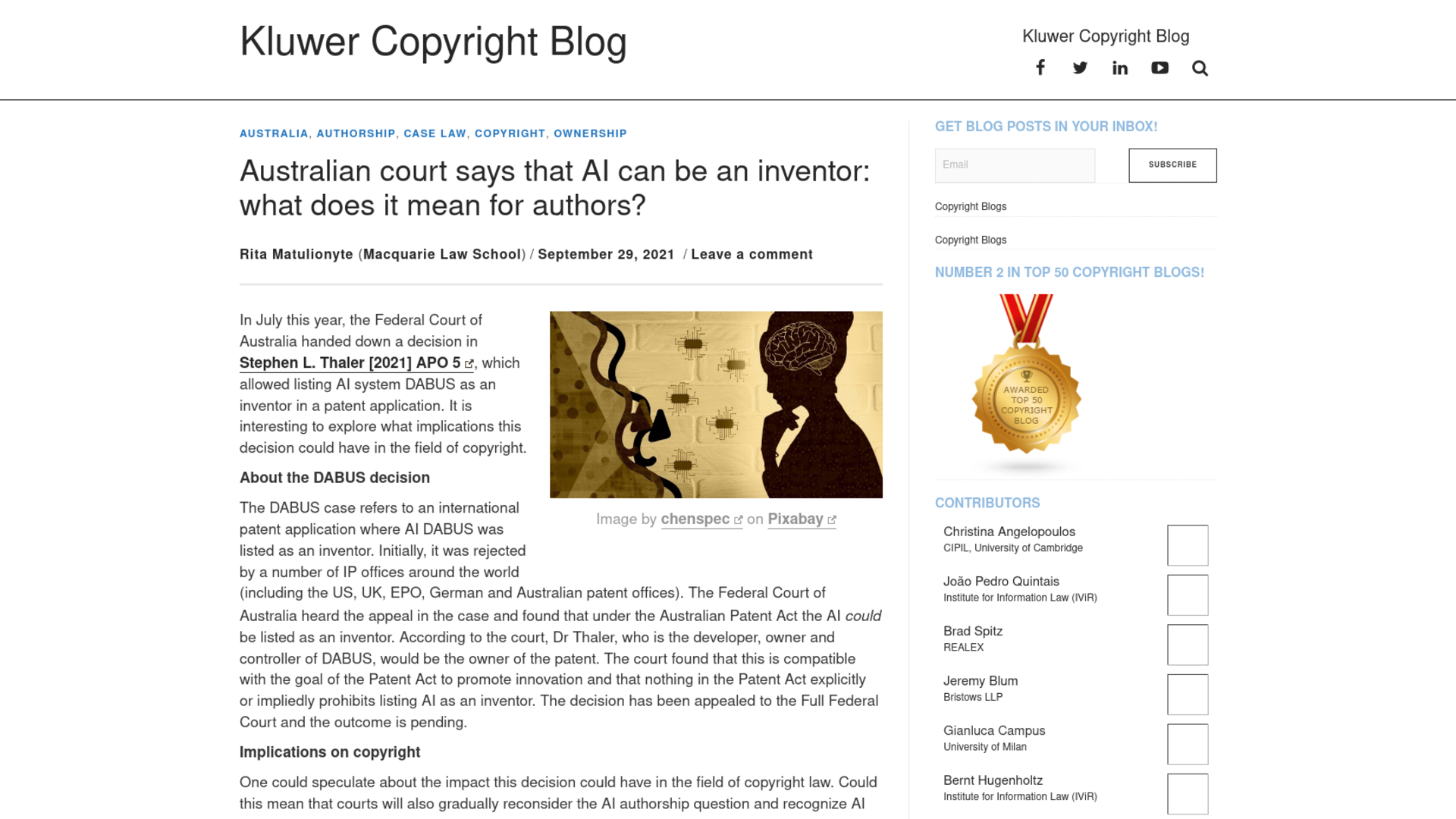 Fairness Rocks News Australian court says that AI can be an inventor: what does it mean for authors?